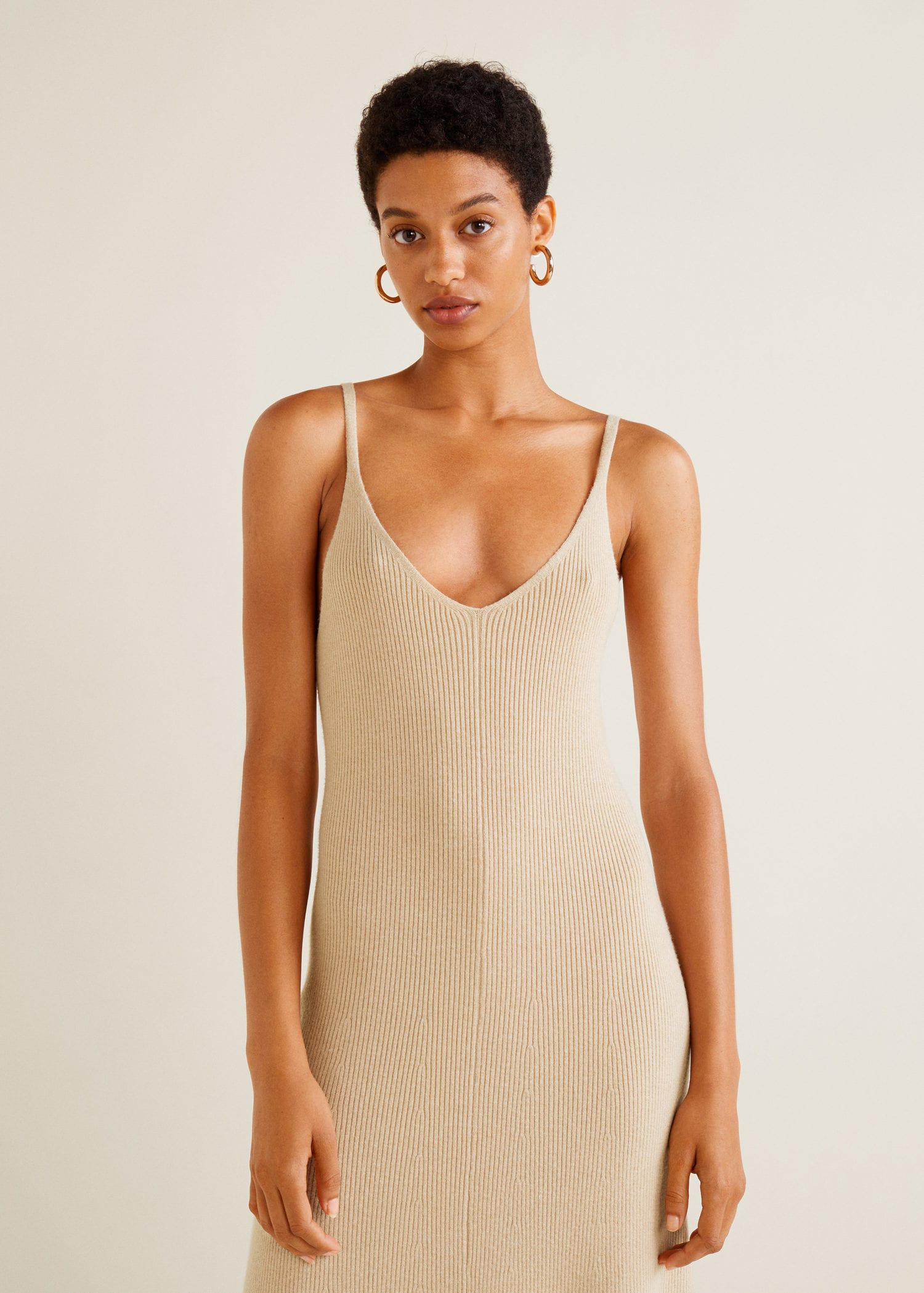 126248c09e1 Mango Ribbed Jersey Dress in Natural - Lyst