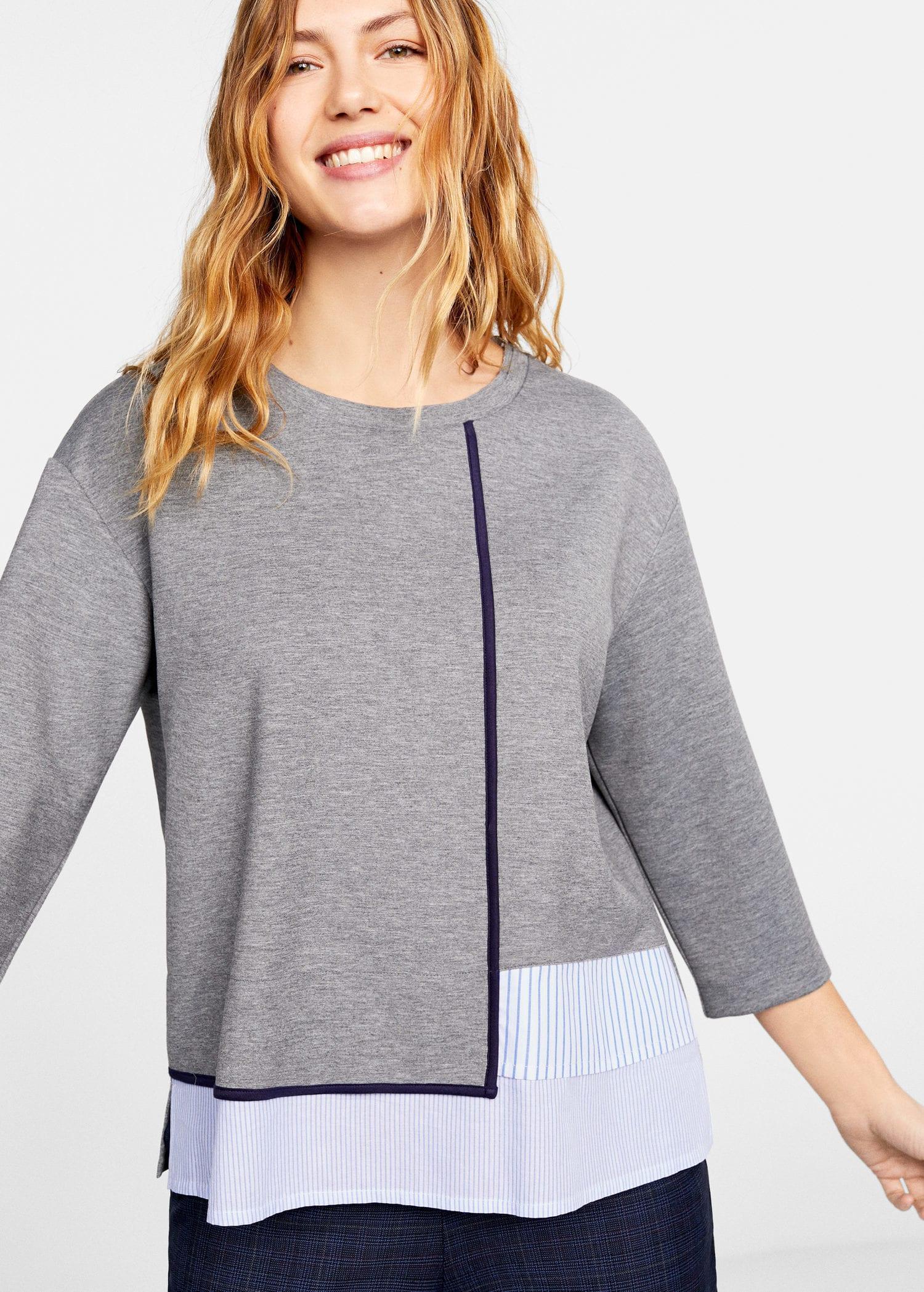 cd5119f19 Violeta by Mango Striped Shirt Hem Sweatshirt in Gray - Lyst