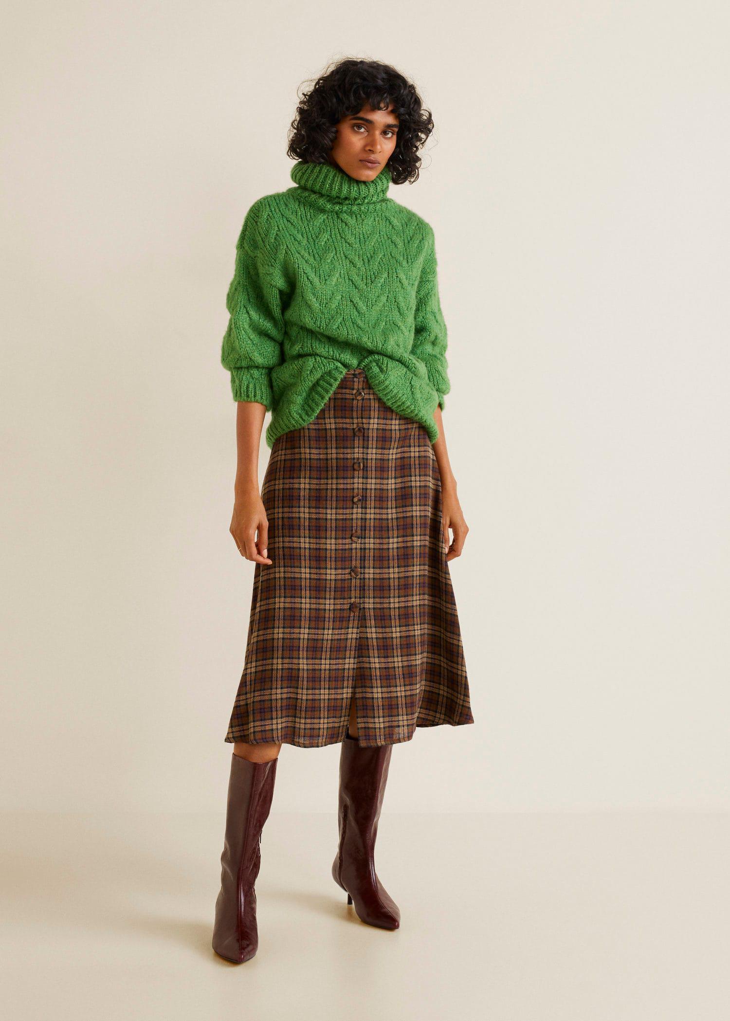 Mango - Green Buttoned Midi Skirt - Lyst. View fullscreen 41c96f3c4