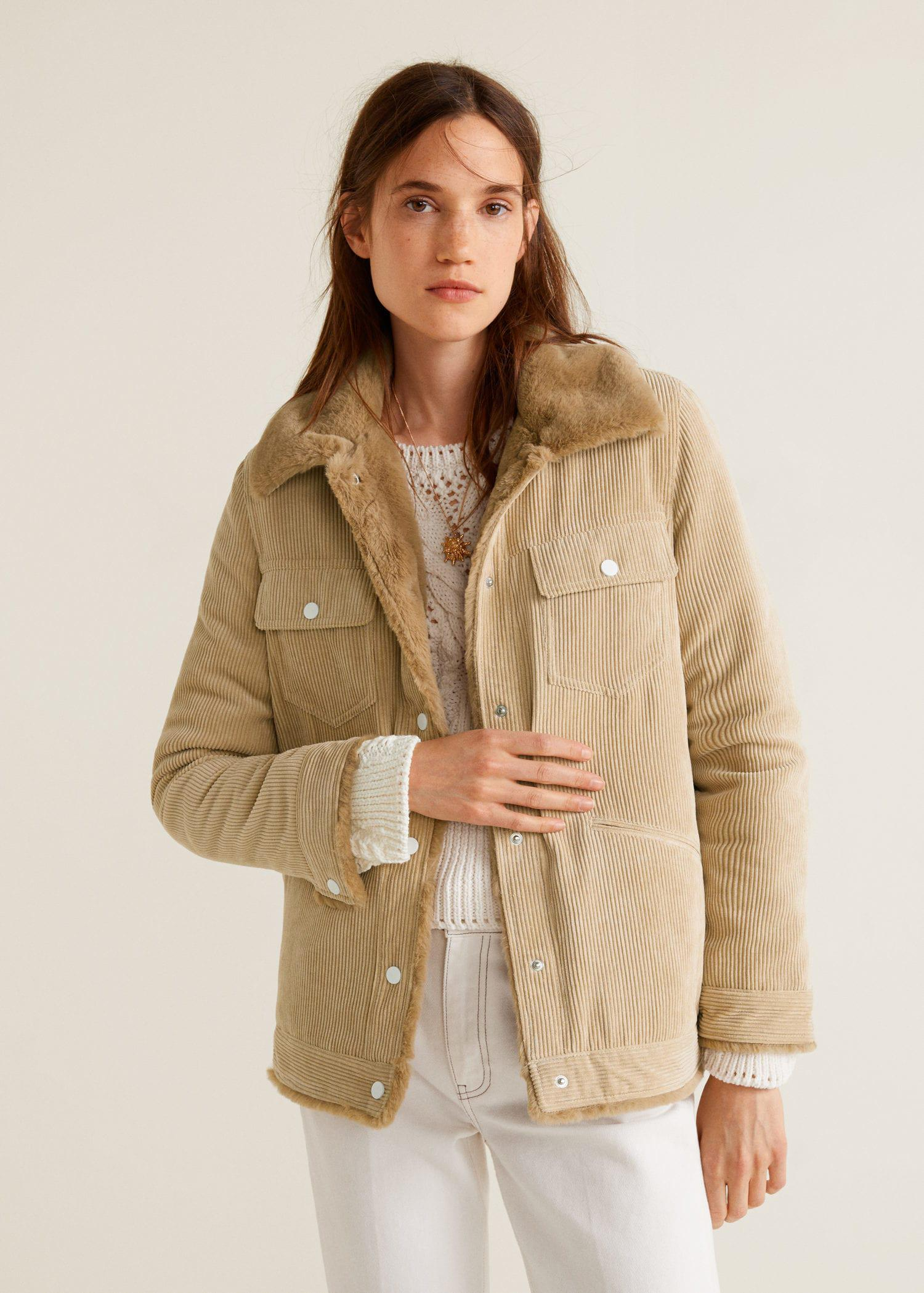 Lyst Mango Fur Corduroy Jacket In Natural