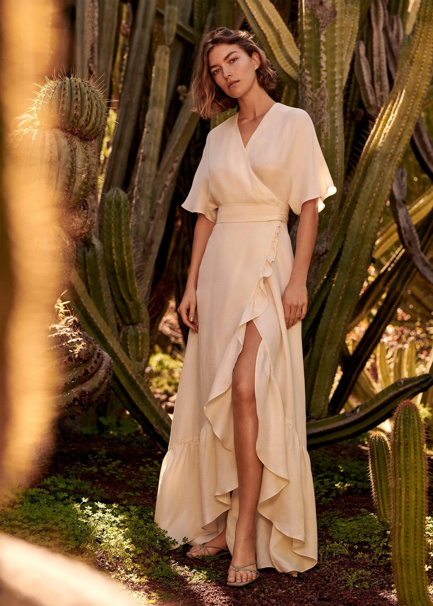 Lyst - Mango Ruffle Wrap Dress in Natural