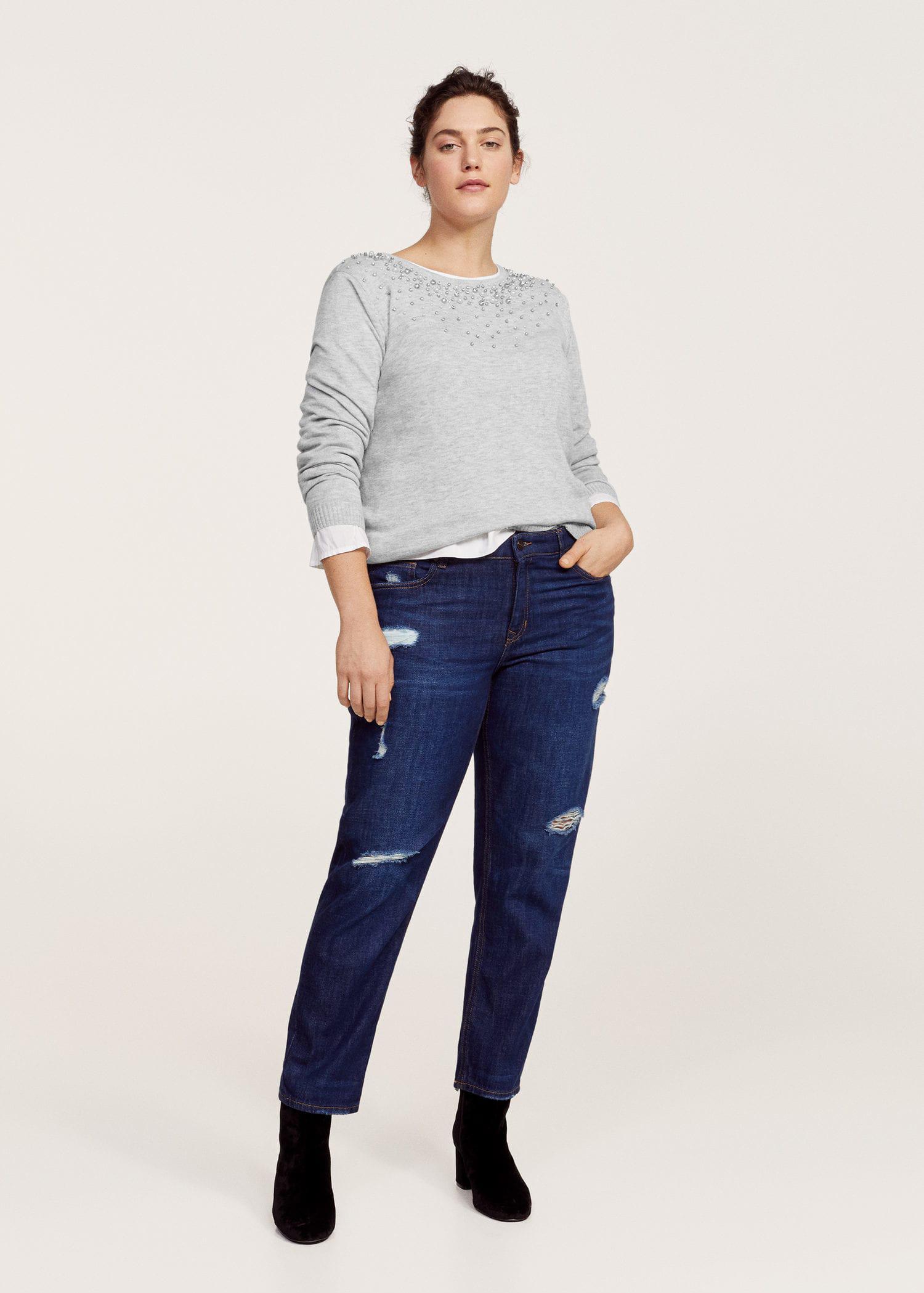 Lyst - Violeta By Mango Pearls Rhinestone Sweater in Gray 2181f25b6