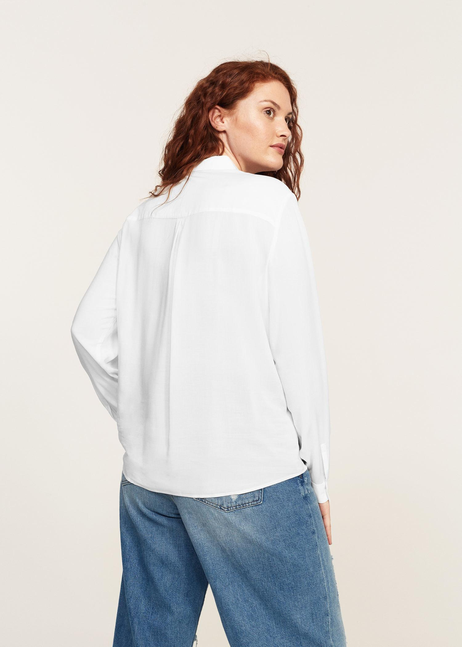 Lyst Violeta By Mango Flowy Shirt In White