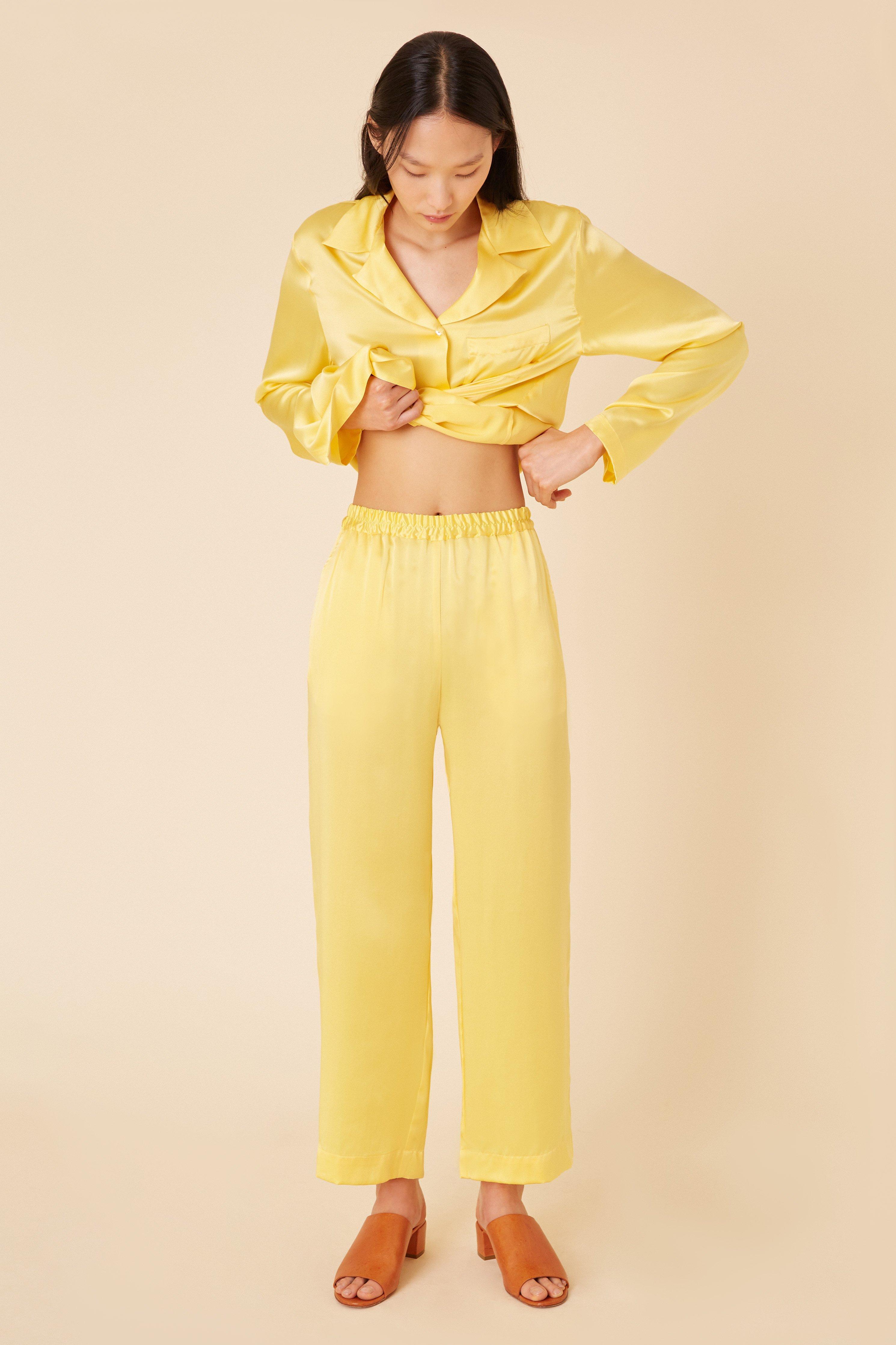 04e8c37e10bcc Lyst - Mansur Gavriel Silk Charmeuse Pajama Pant - Sun in Yellow