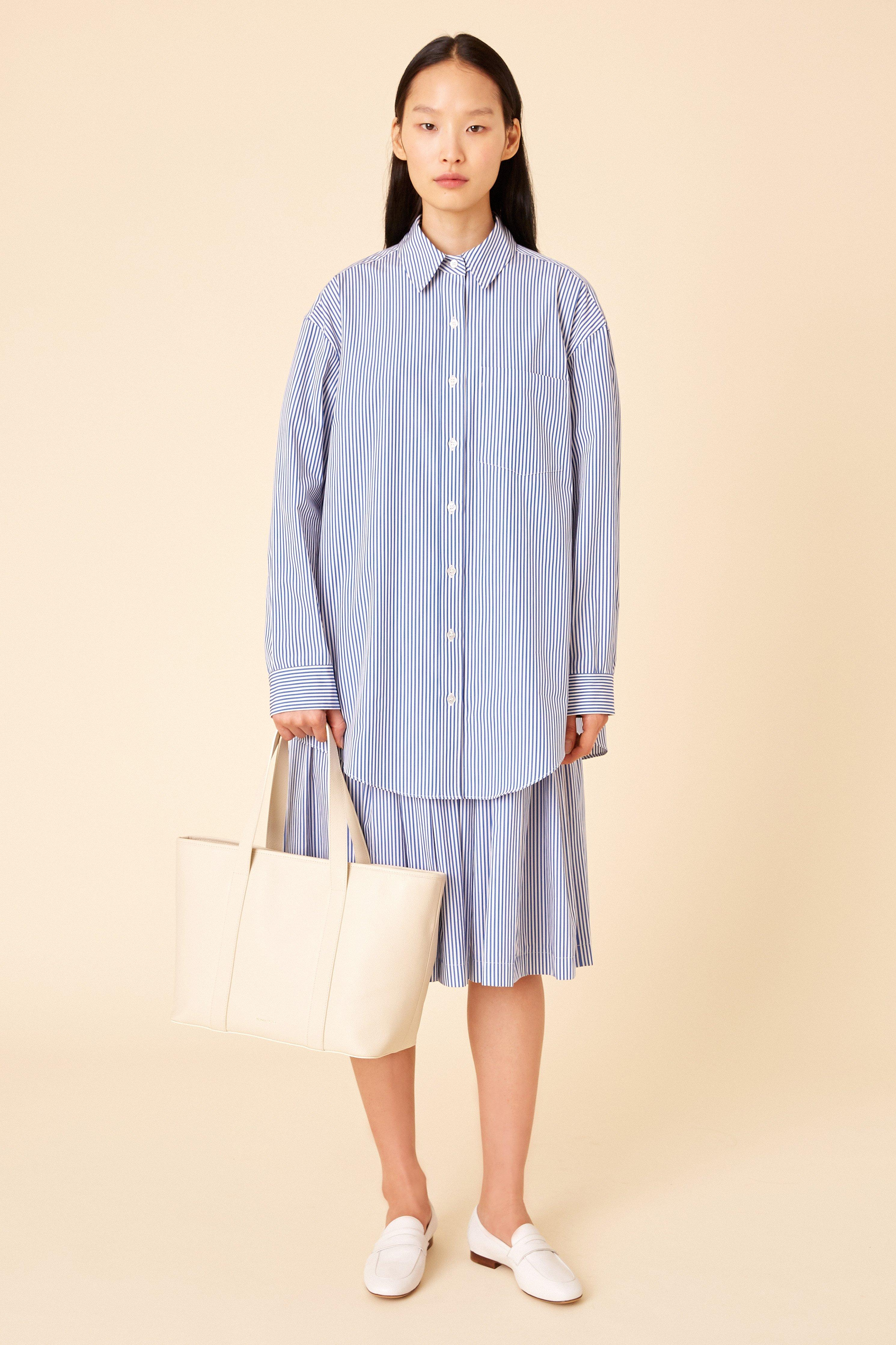 9eabfa58e Mansur Gavriel. Women s Blue Cotton Oversized Long Sleeve Button Down - Blu  white