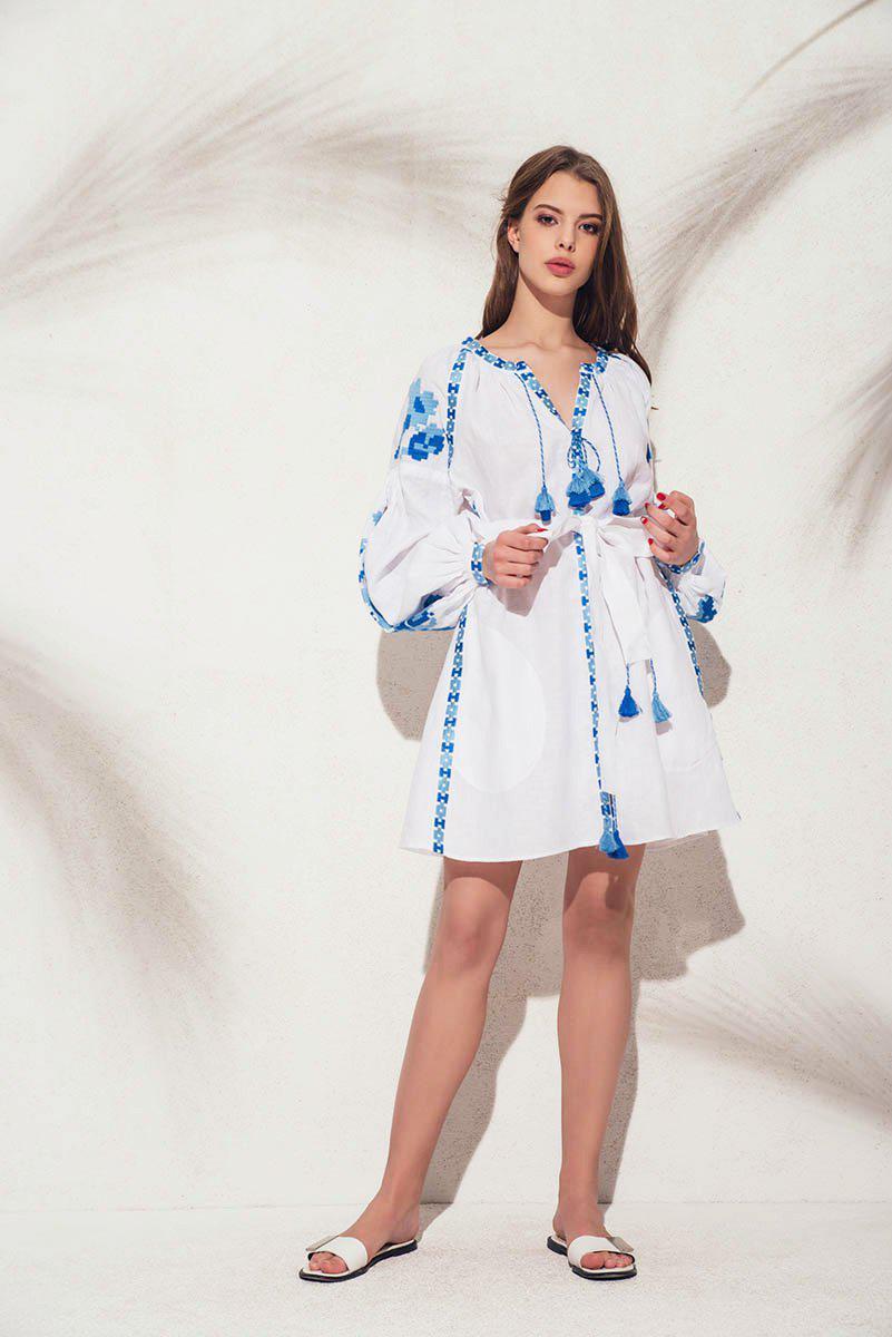Lyst march11 flower pixel mini dress in white with blue in blue march11 flower pixel mini dress in white with blue lyst view fullscreen izmirmasajfo