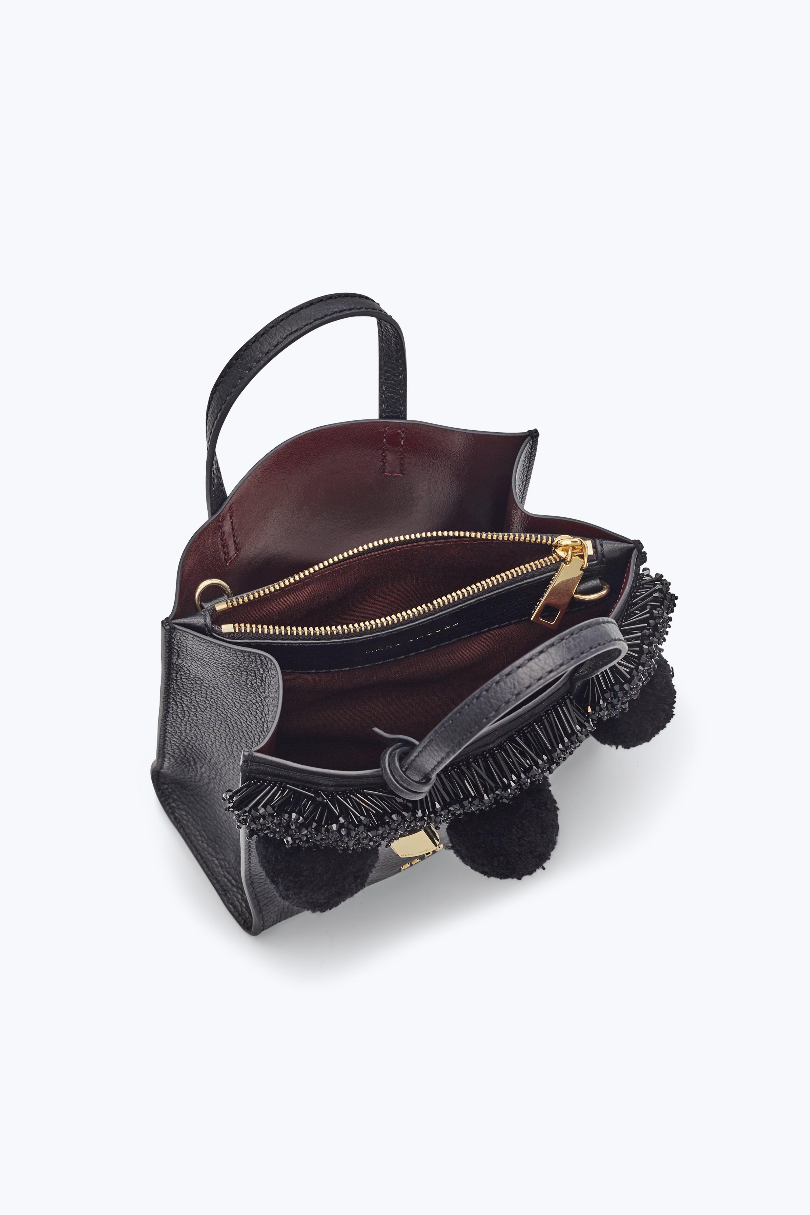 302e07848d26 Lyst - Marc Jacobs The Beads   Pompoms Mini Grind Bag in Black