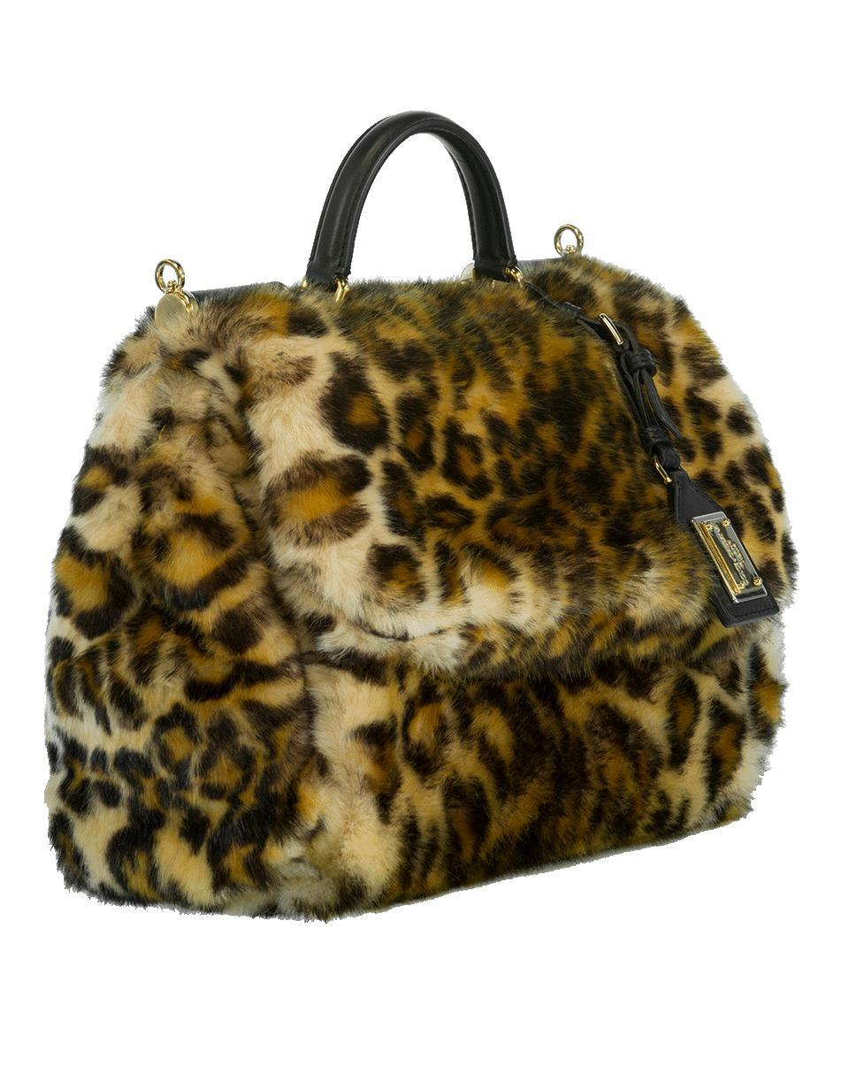 a4b4721490 Lyst - Dolce   Gabbana Furry Leopard Print Handbag in Natural