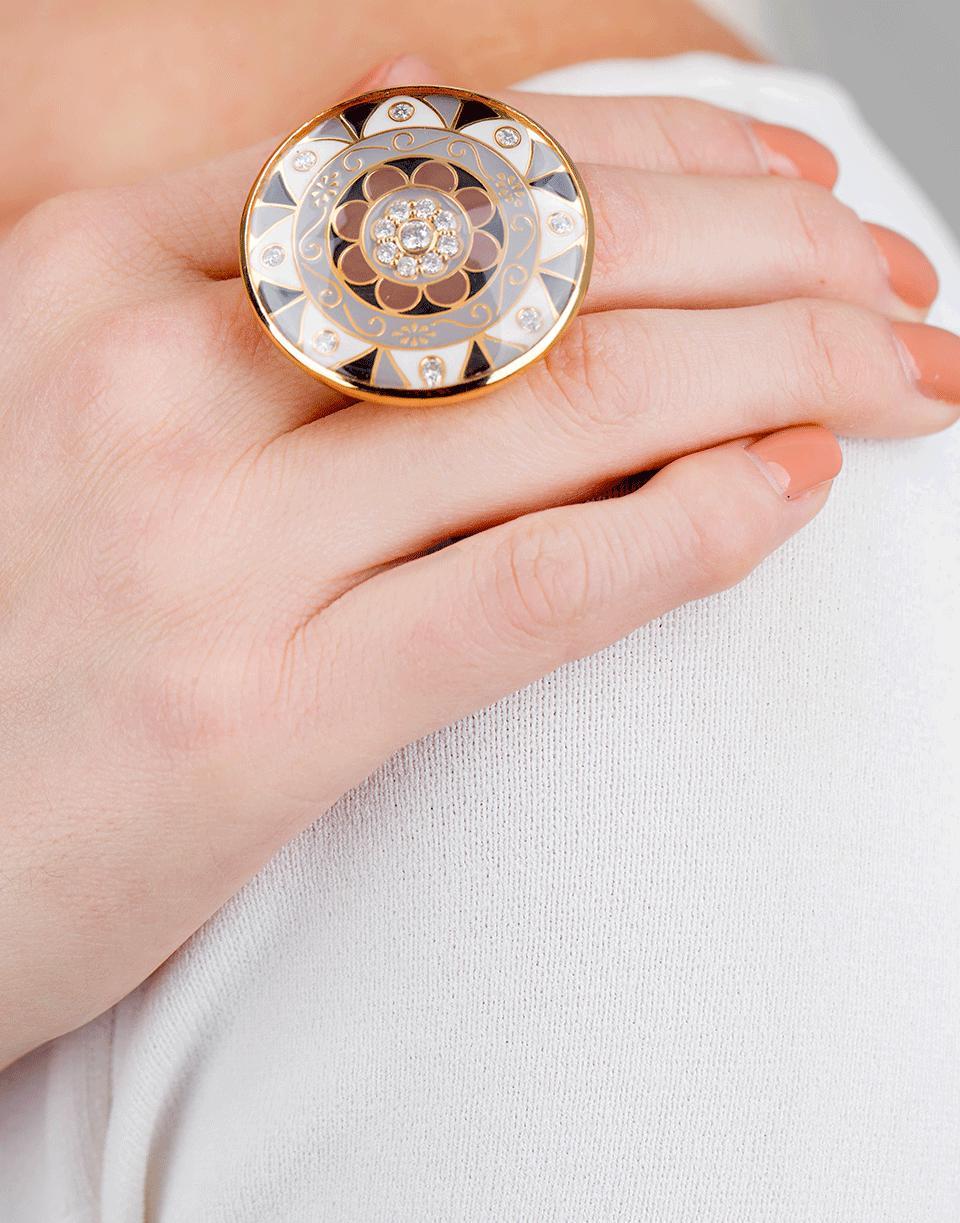 Lyst - Buddha Mama Mandala Rock Crystal And Enamel Ring in Metallic