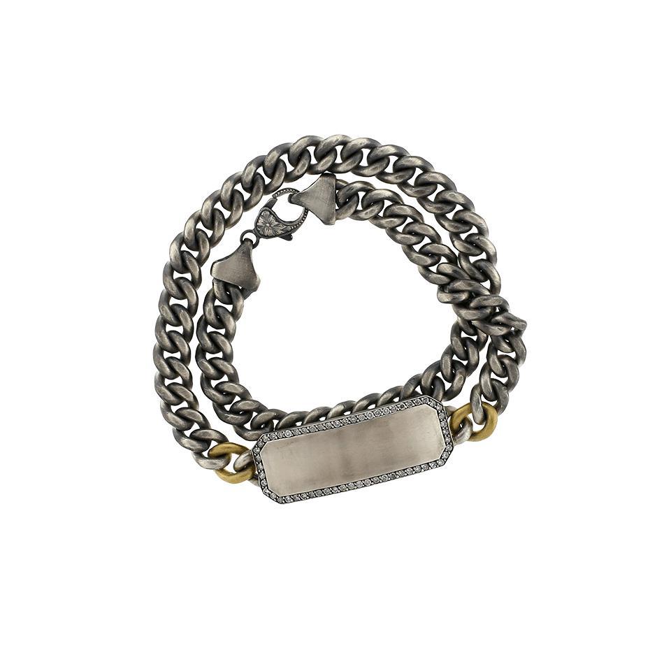 Lyst Sylva Amp Cie Grey Diamond Id Wrap Bracelet In Metallic