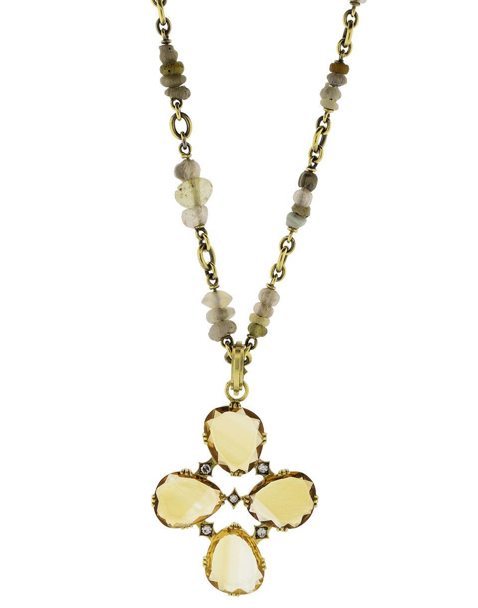 Lyst sylva cie citrine cross pendant in metallic gallery aloadofball Gallery