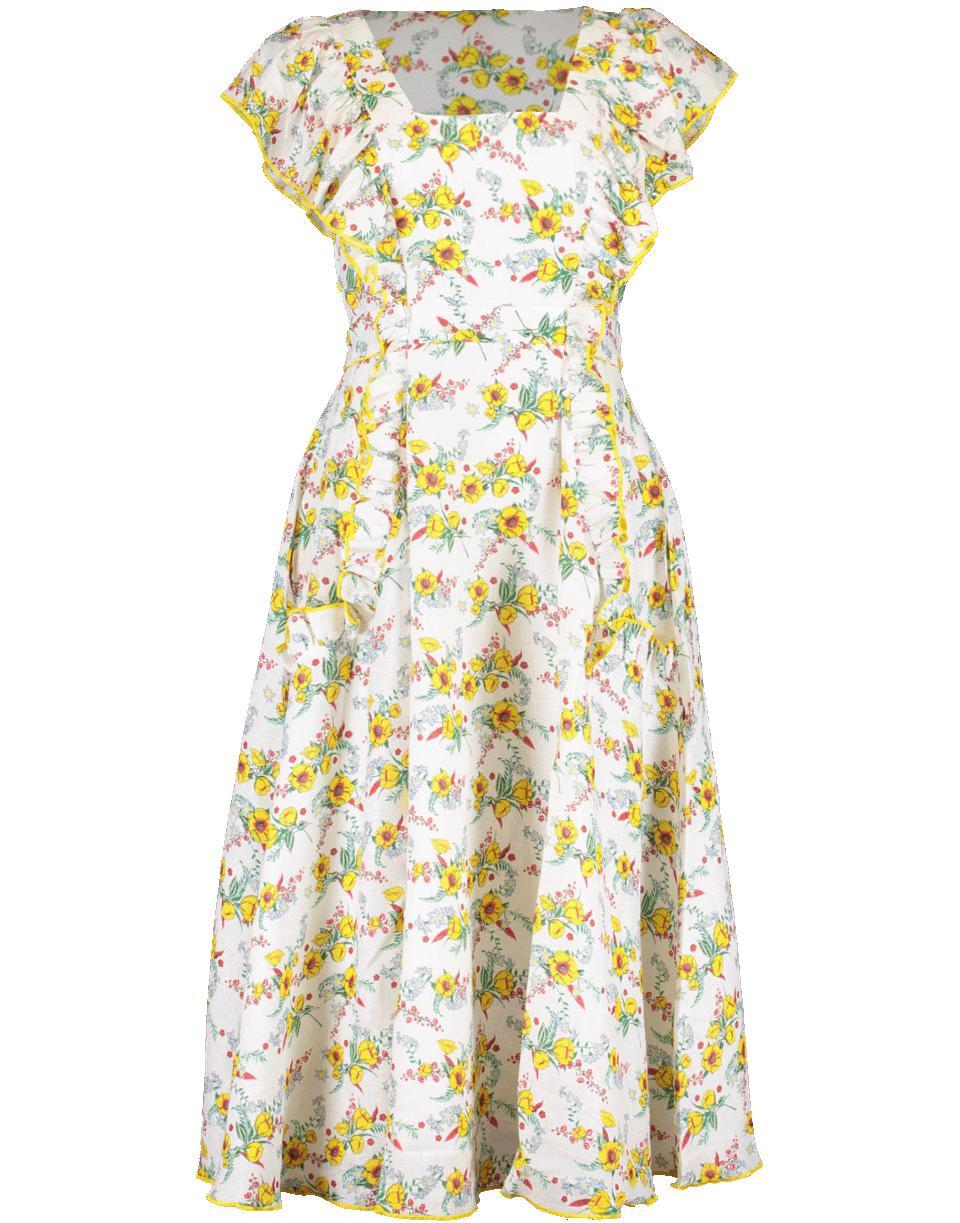 40a8cf8b68 Lyst - Gül Hürgel Ruffle Sleeve Daisy Print Midi Dress in Yellow