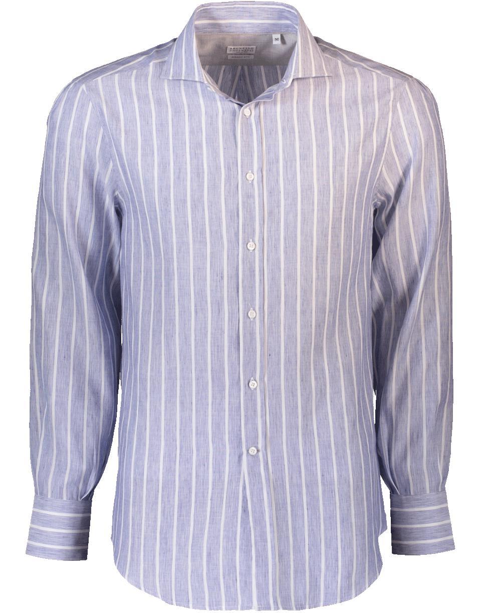 Lyst brunello cucinelli striped button down shirt in for Striped button down shirts for men