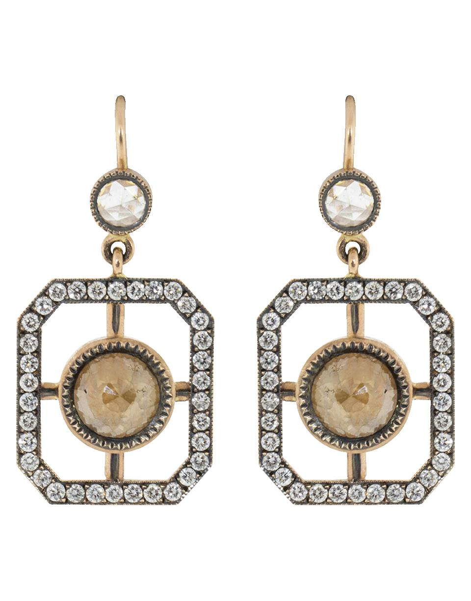 56d824bae Sylva & Cie Rough Diamond Window Earrings in Metallic - Lyst
