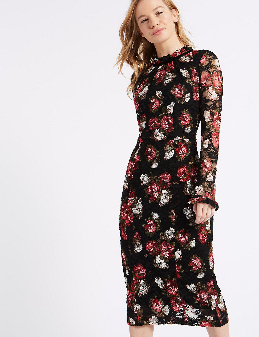 Brand New Ex Marks And Spencer Navy Black Floral Long Sleeve Dress Size 6-22
