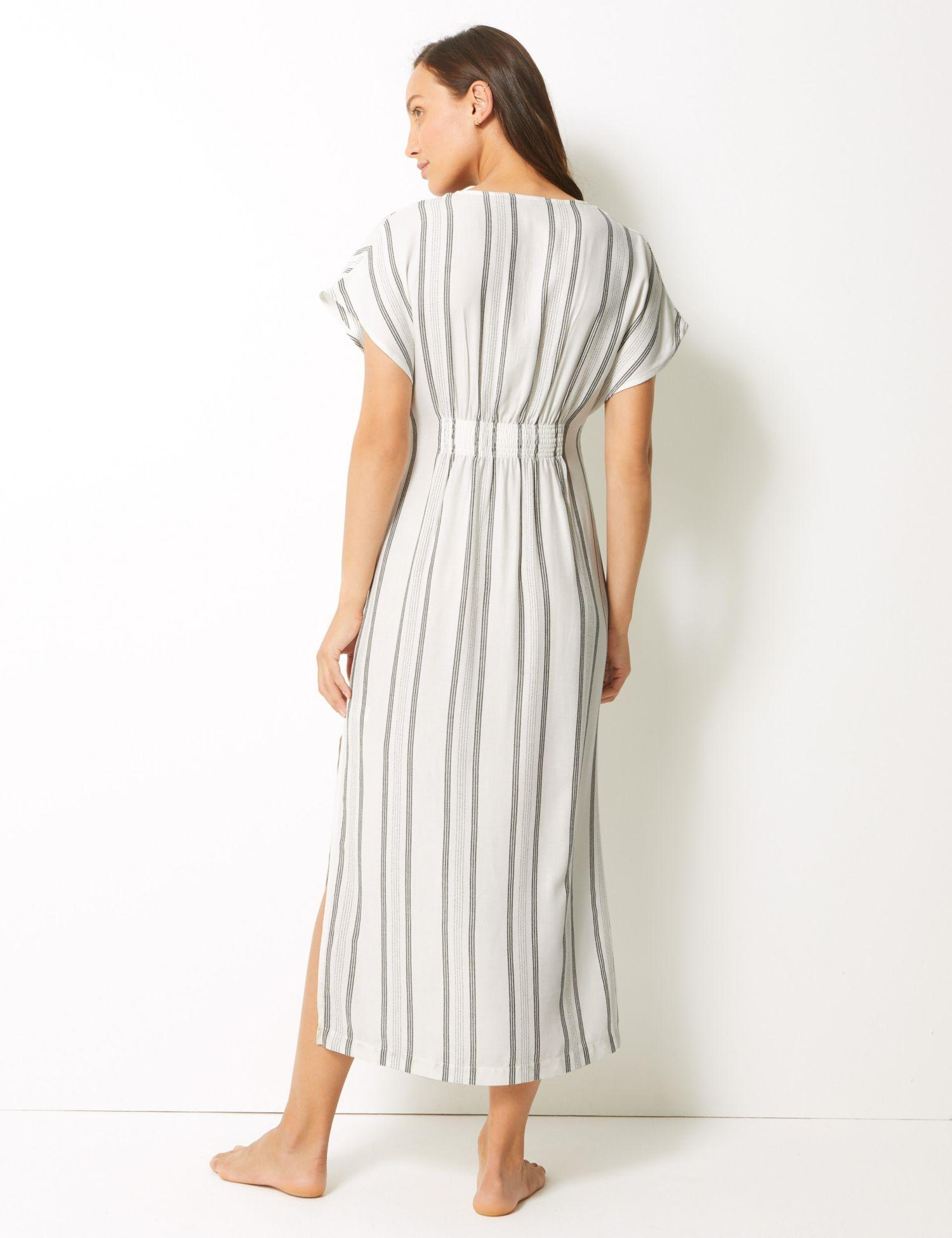 2ab6adc5479 Marks   Spencer - White Striped Kaftan Beach Dress - Lyst. View fullscreen