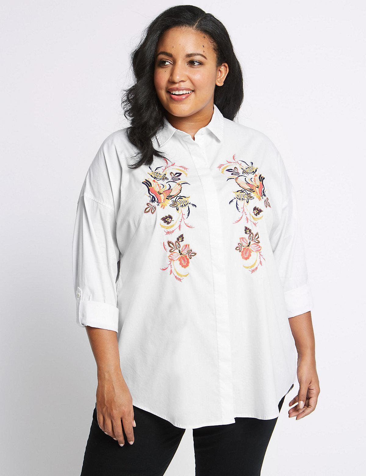 Lyst marks spencer curve cotton rich embroidered shirt