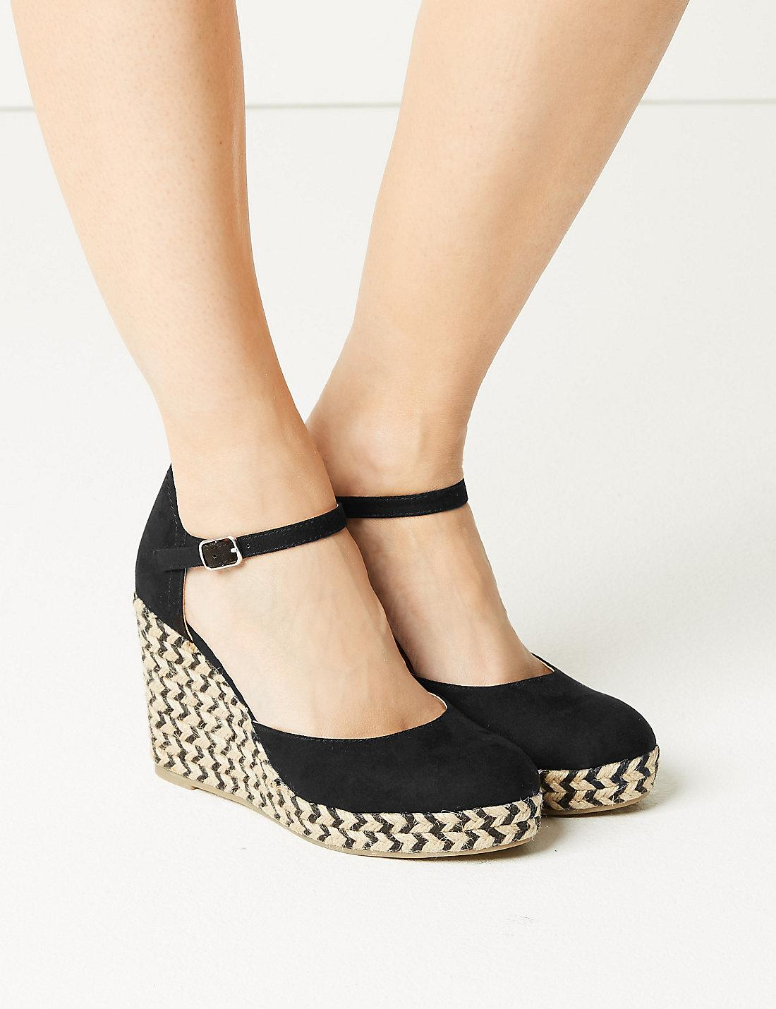 3fc157e7ffd Lyst - Marks   Spencer Wedge Heel Almond Toe Espadrilles in Black