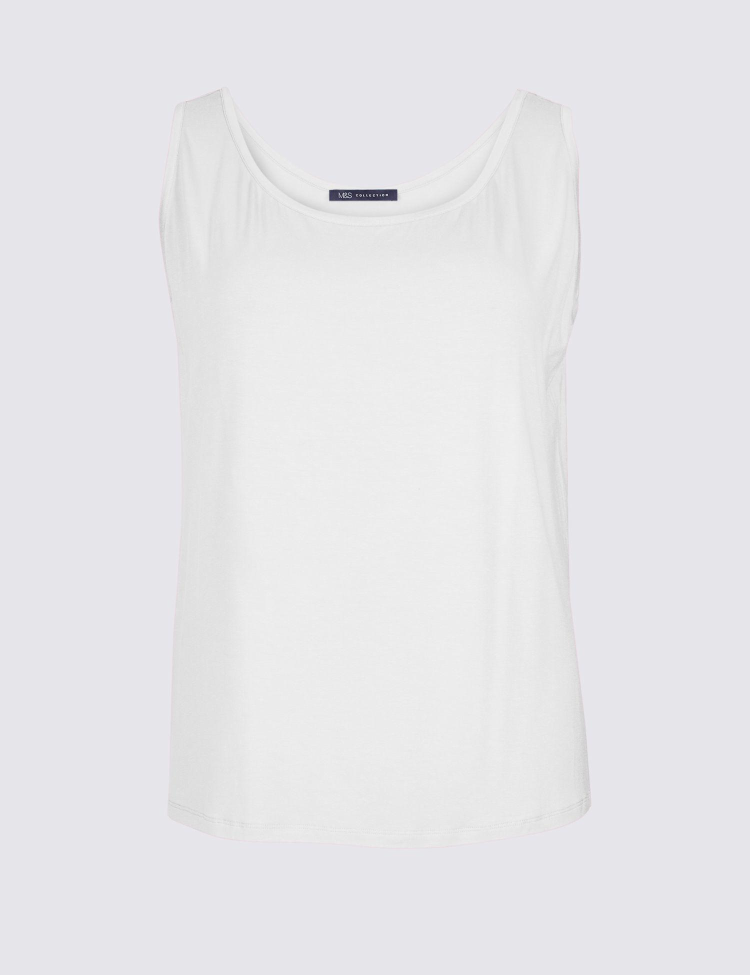b870cc6277ed46 Marks & Spencer Curve Jersey Round Neck Vest Top in White - Lyst