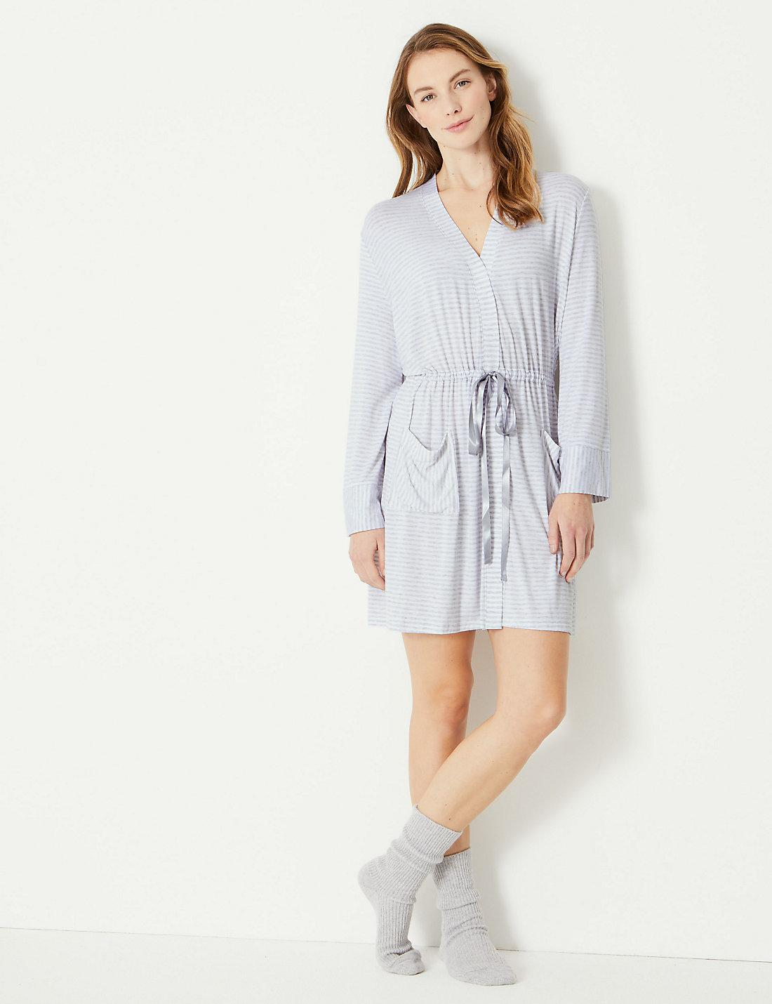 73b3fea1e0 Lyst - Marks   Spencer Striped Short Dressing Gown in Gray