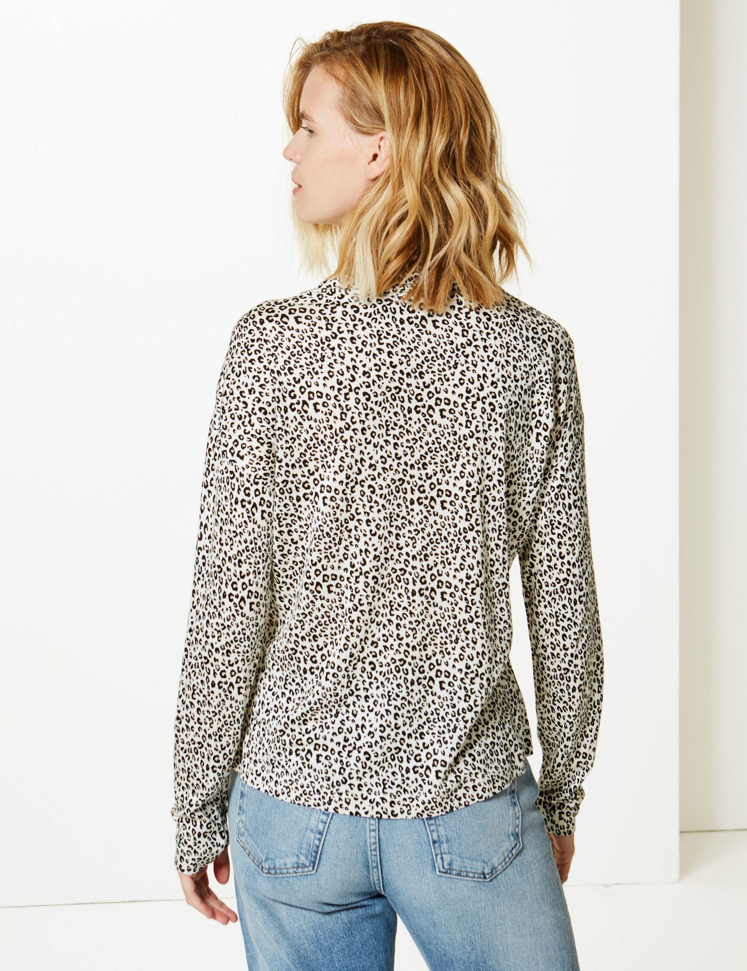41336e1bb88fa4 Marks & Spencer - Multicolor Animal Print Funnel Neck Long Sleeve Top - Lyst.  View fullscreen