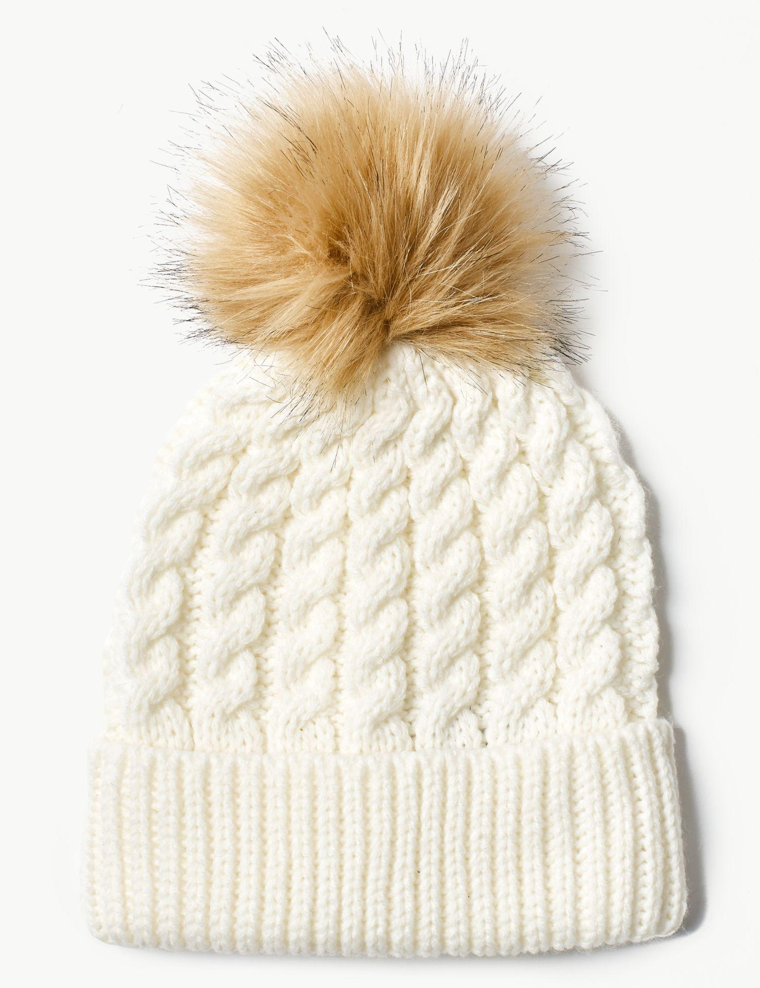 Marks   Spencer Faux Fur Bobble Beanie Hat in Natural - Lyst 7df41801639