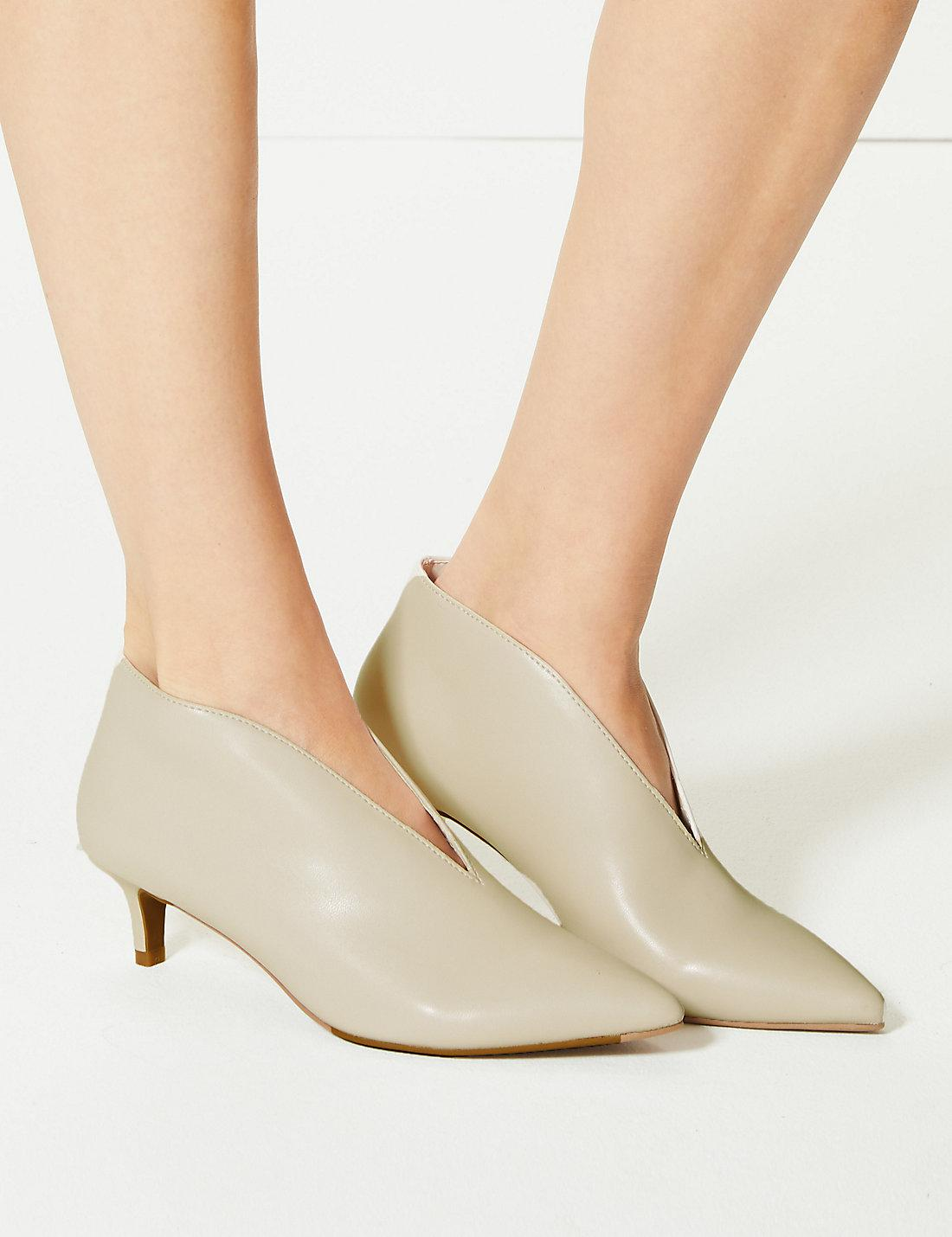 df6448b9a5a Lyst - Marks   Spencer Wide Fit Kitten Heel V-cut Shoe Boots in White