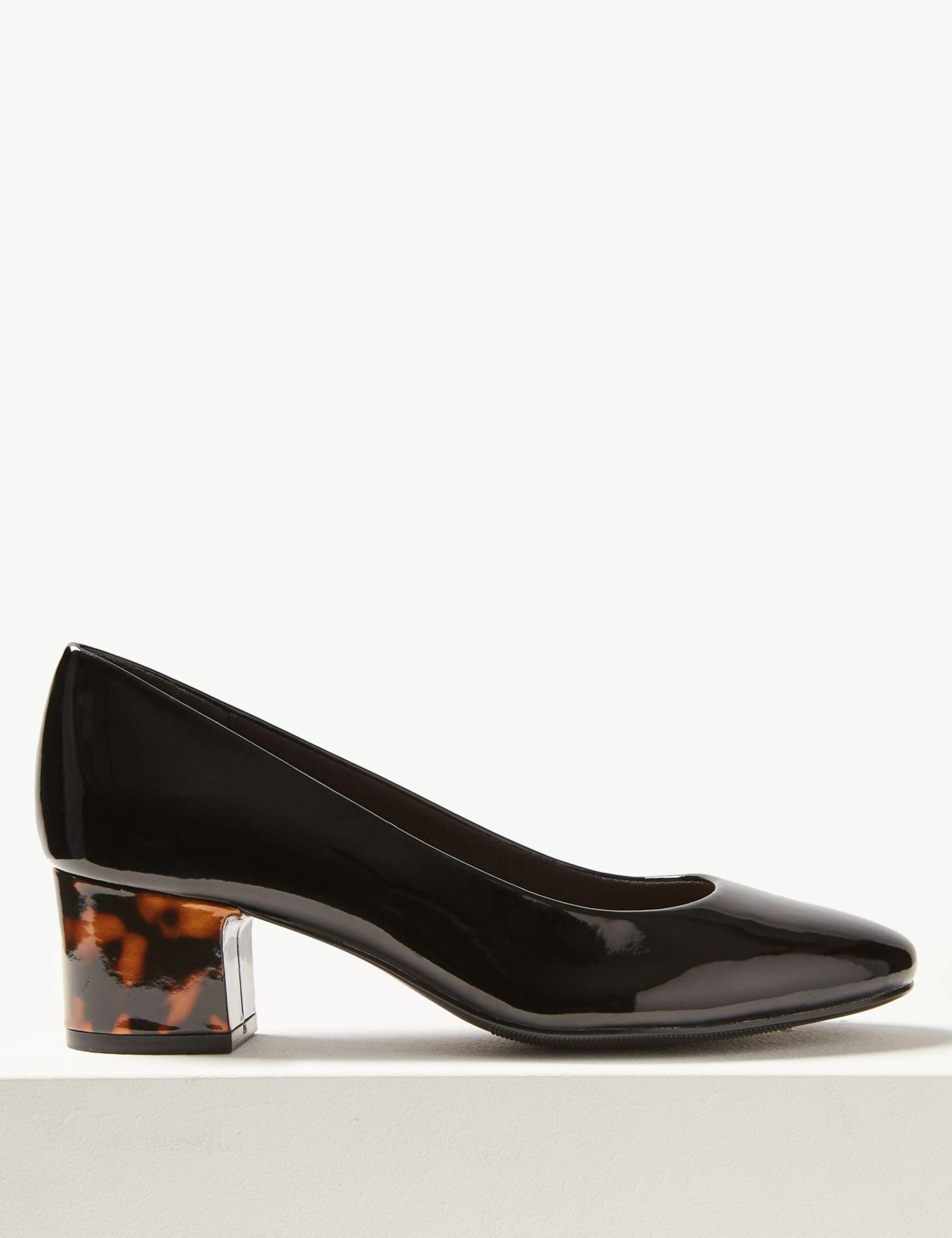 2117fafb54b Marks & Spencer Block Heel Court Shoes in Black - Lyst