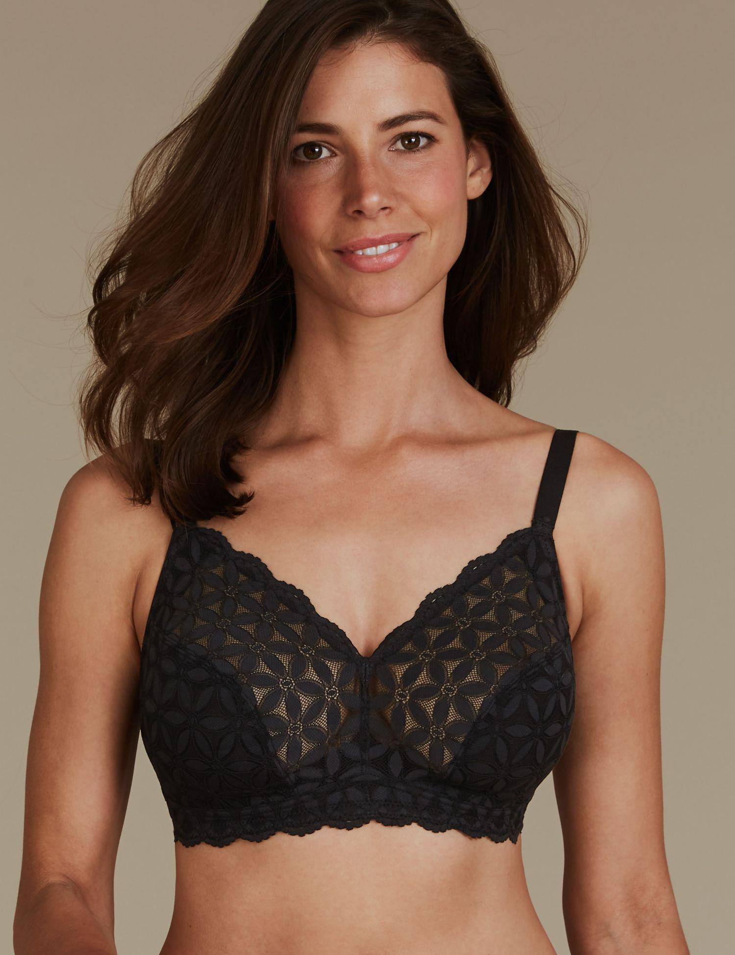 e07ccc4c87402 Marks   Spencer Floral Lace Non-padded Full Cup Bra DD-GG in Black - Lyst