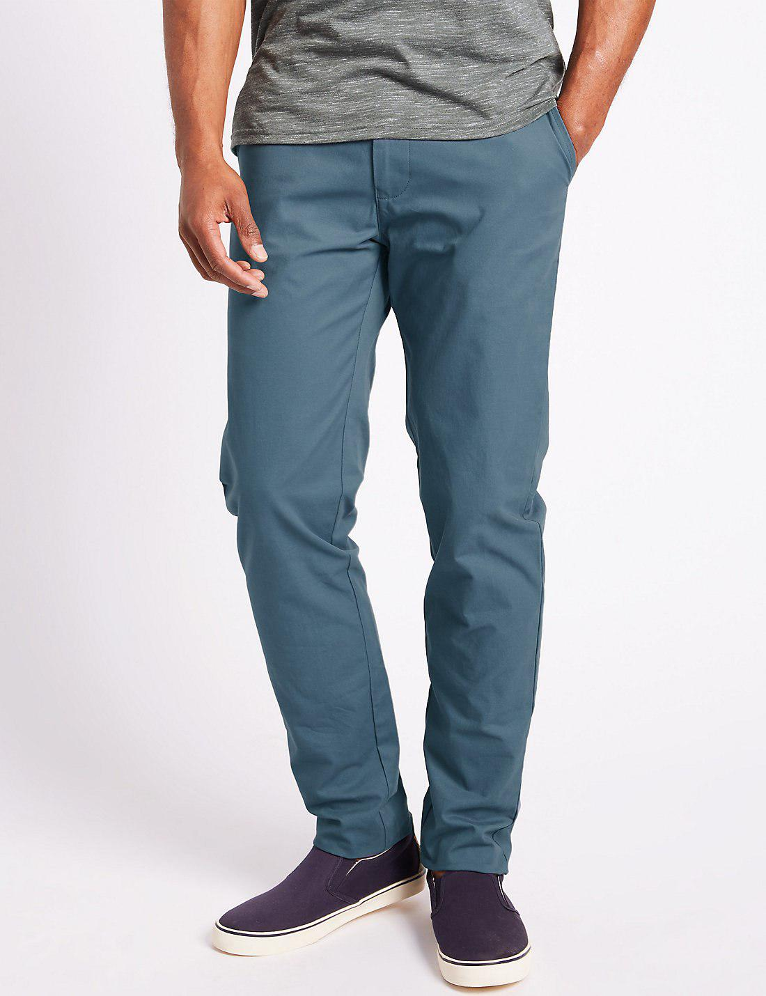 Marks and Spencer Straight Fit Pure Cotton Chinos air force blue Clearance Classic Finishline Online Footlocker Finishline Online GJtrjTt7