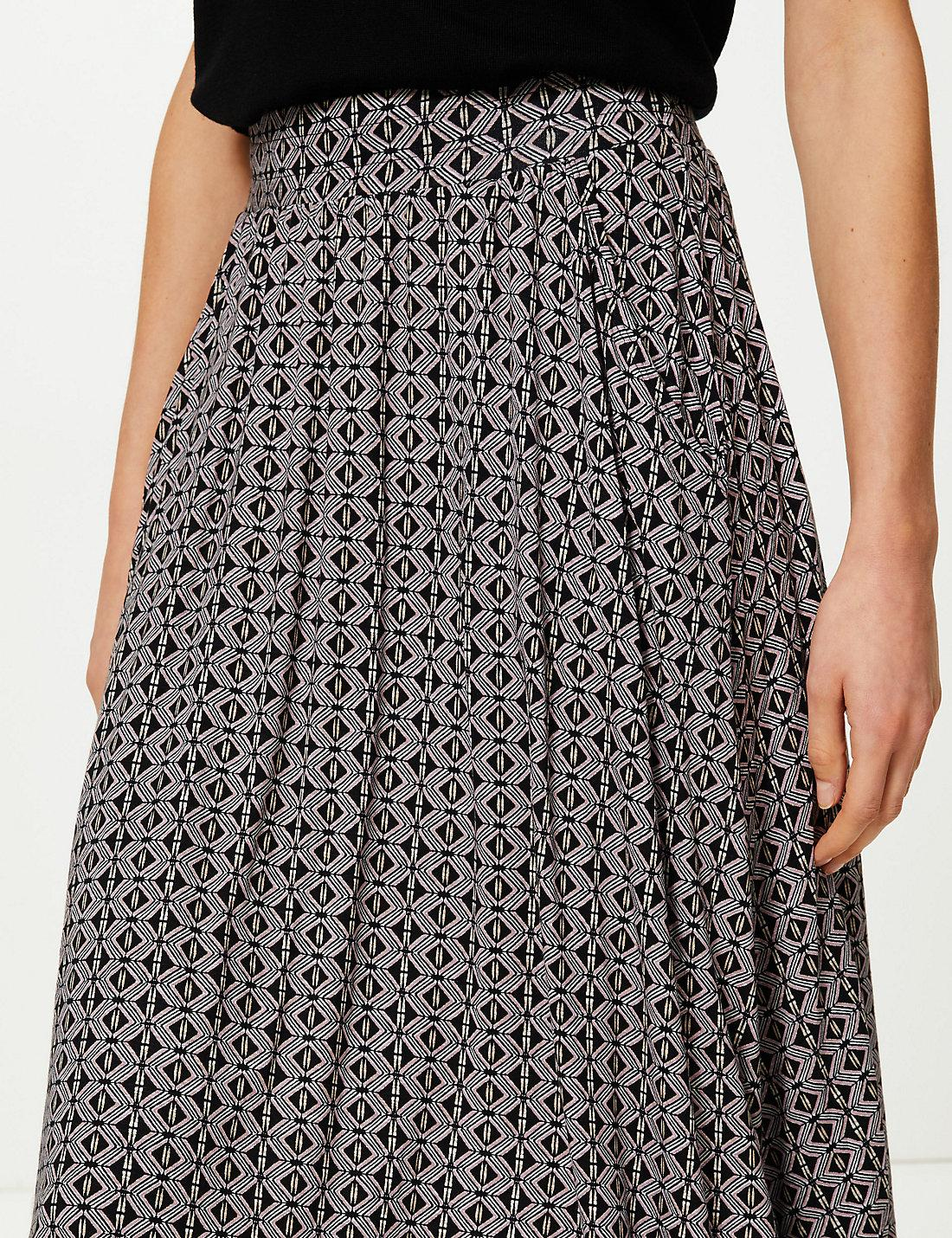 fd0191369ed0 Lyst - Marks & Spencer Printed Jersey A-line Midi Skirt in Black