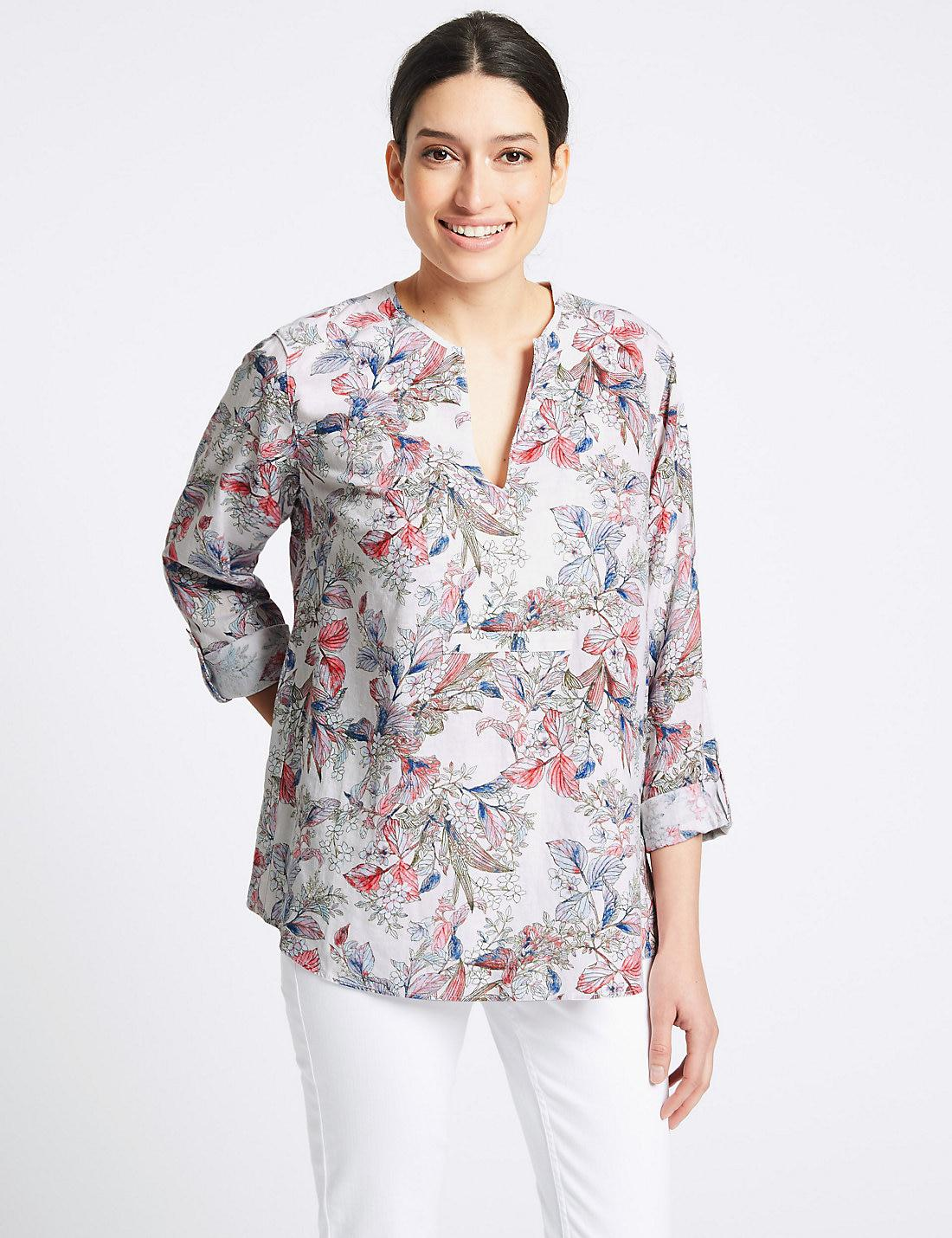 a5f13d34993 Lyst - Marks   Spencer Linen Rich Floral Print Long Sleeve Blouse in ...