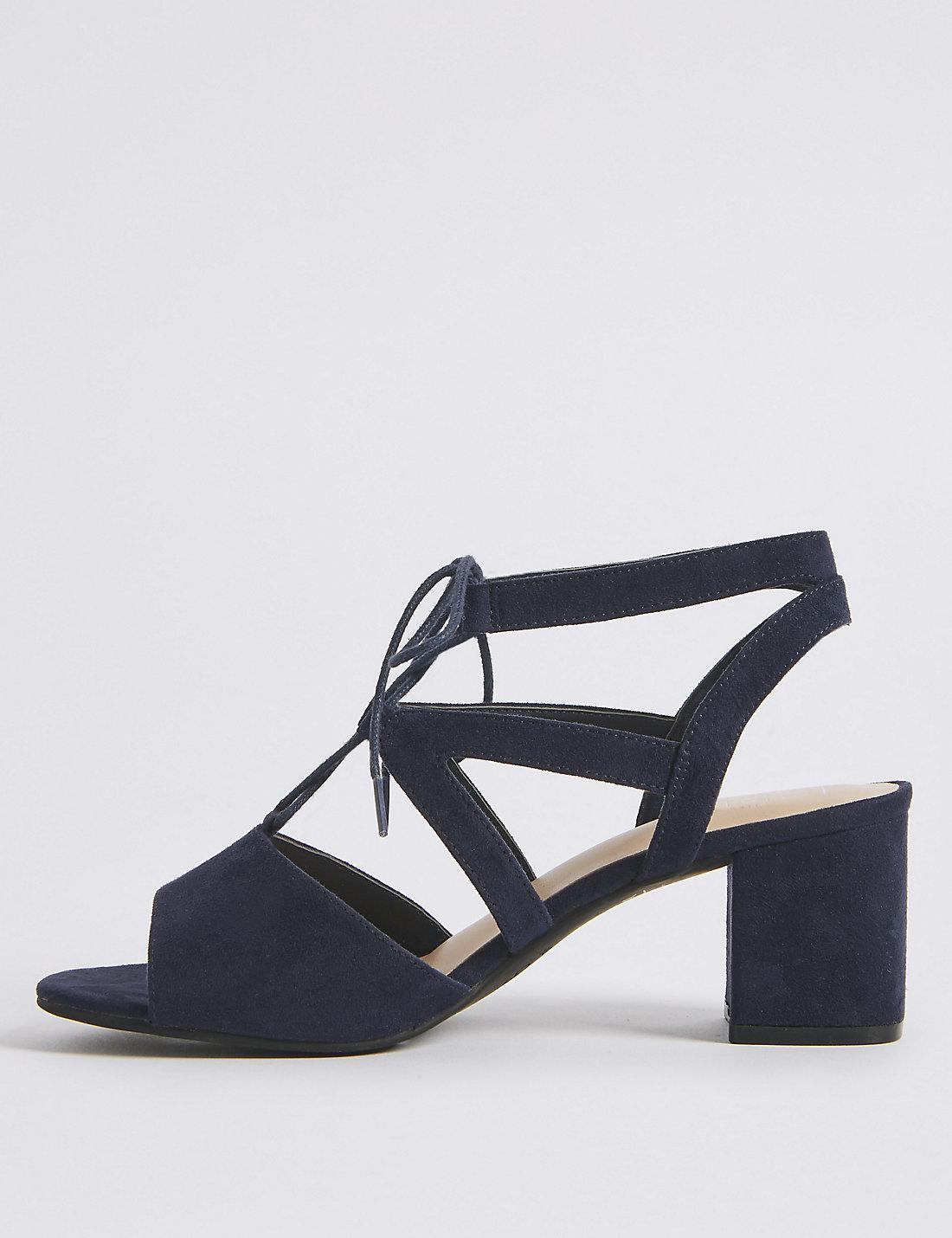 0d26fedb121 Lyst - Marks   Spencer Extra Wide Fit Block Heel Lace-up Sandals in Blue