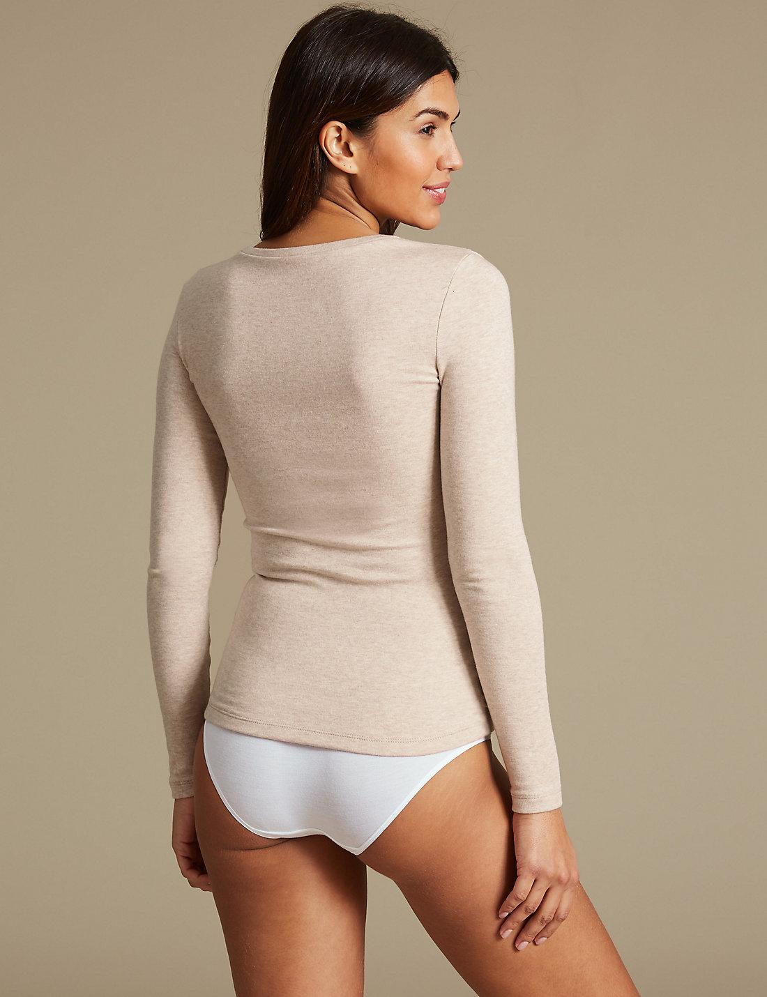 7bfa3a4a28 Lyst - Marks   Spencer Heatgentm Thermal Long Sleeve Top in Natural