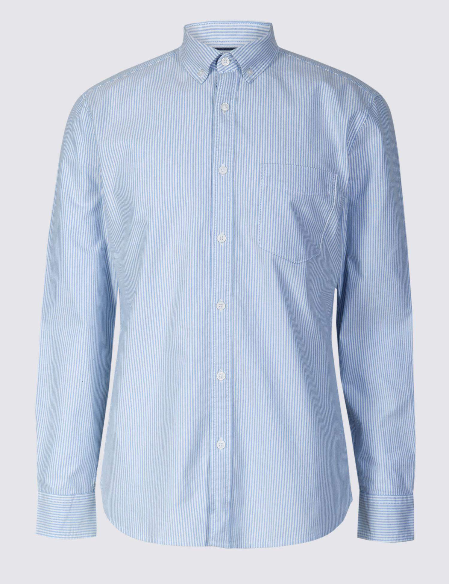 1c48e886084c Marks   Spencer Pure Cotton Slim Fit Shirt With Pocket in Blue for ...