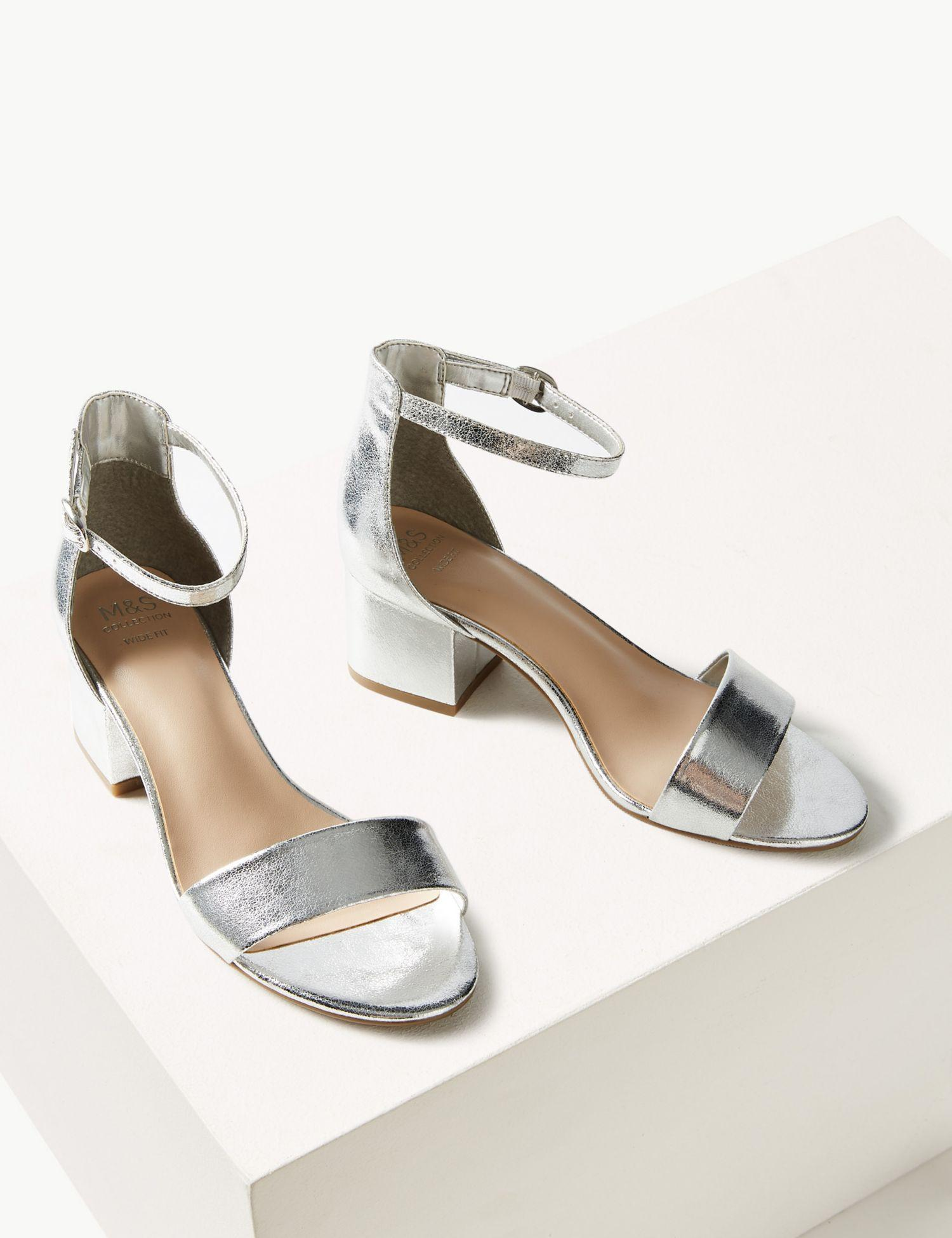 3dc6185b339c Marks   Spencer Wide Fit Two Part Ankle Strap Sandals in Metallic - Lyst