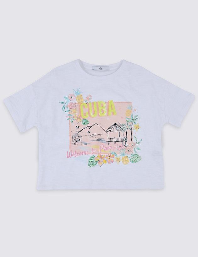 97de7c31332 Lyst - Marks   Spencer Pure Cotton Cuba T-shirt (3-16 Years) in White