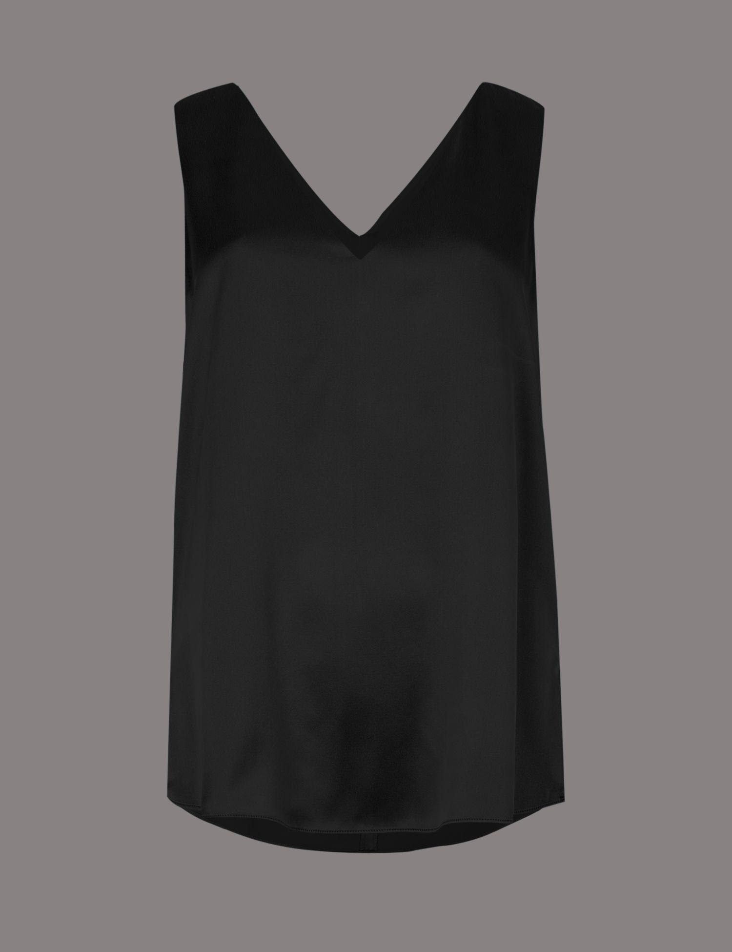 8ab8848064b2d Marks   Spencer Pure Silk V-neck Sleeveless Blouse in Black - Lyst