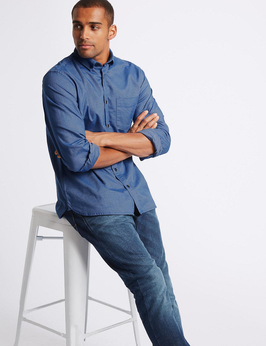 Lyst Marks Spencer Pure Cotton Oxford Shirt With Pocket In Blue Hanger Marksspencer Slim For Men