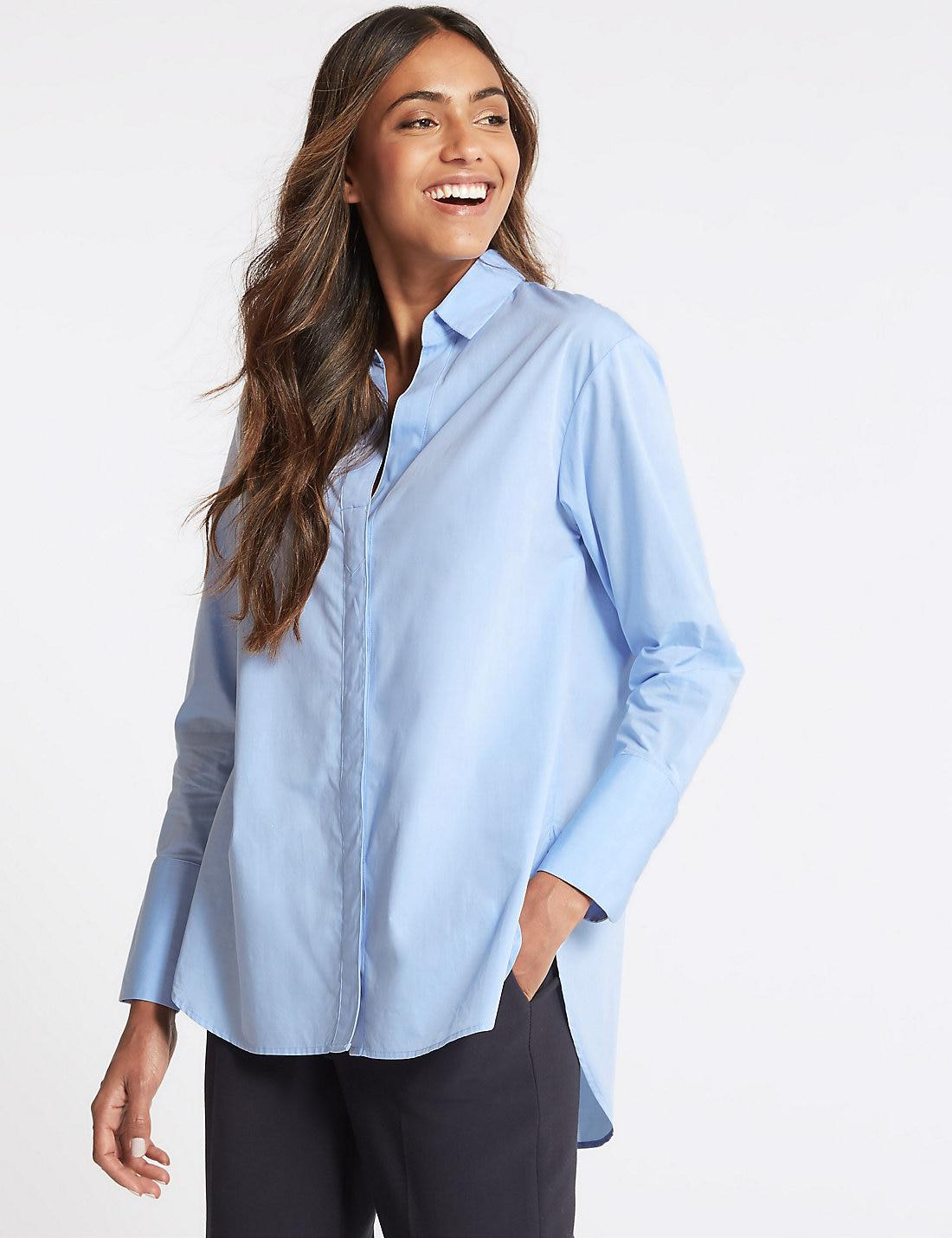 bf24b806baf571 Marks & Spencer Pure Cotton Long Sleeve Longline Shirt in Blue - Lyst