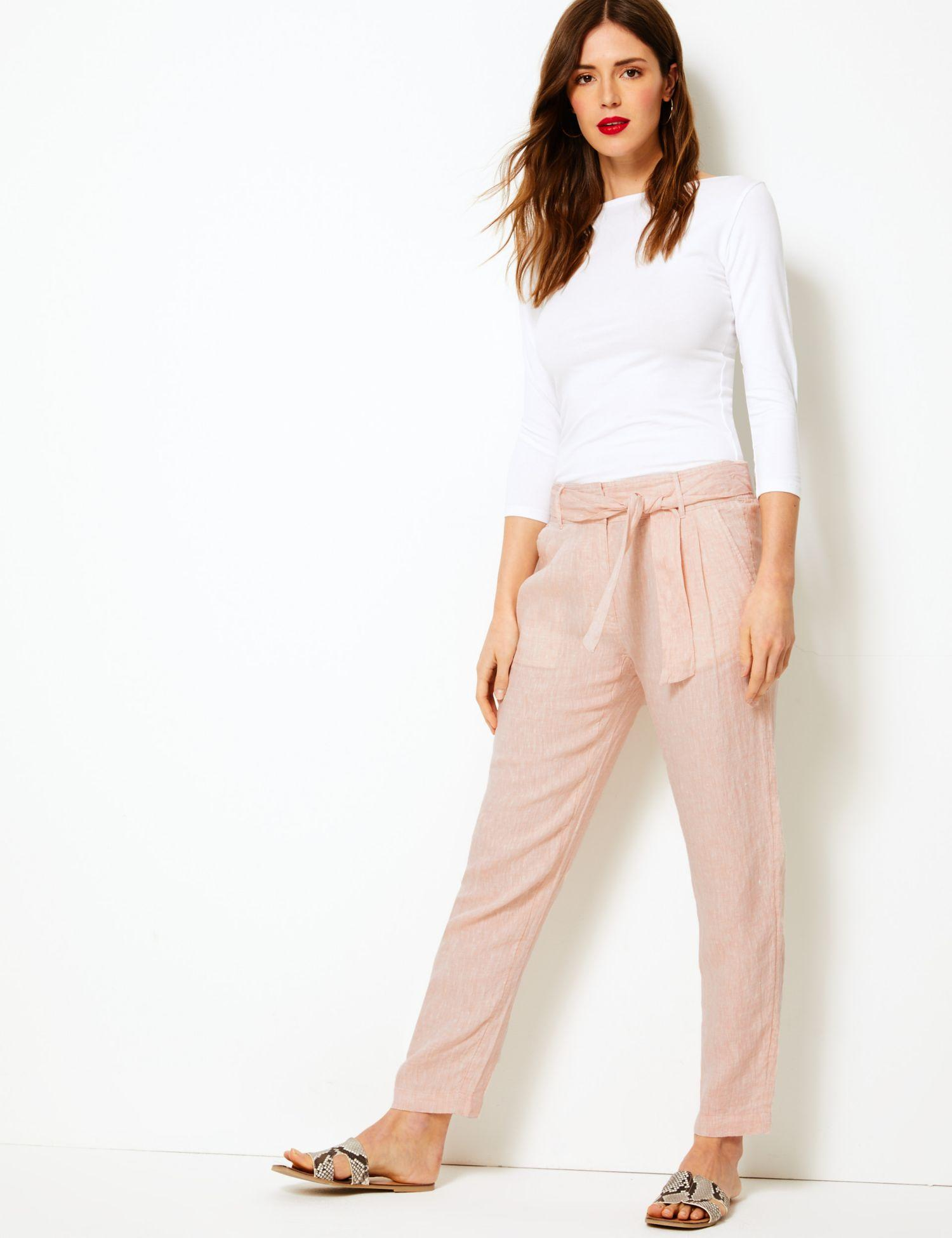 6699526b81 Marks   Spencer Pure Linen Ankle Grazer Peg Trousers in Pink - Lyst