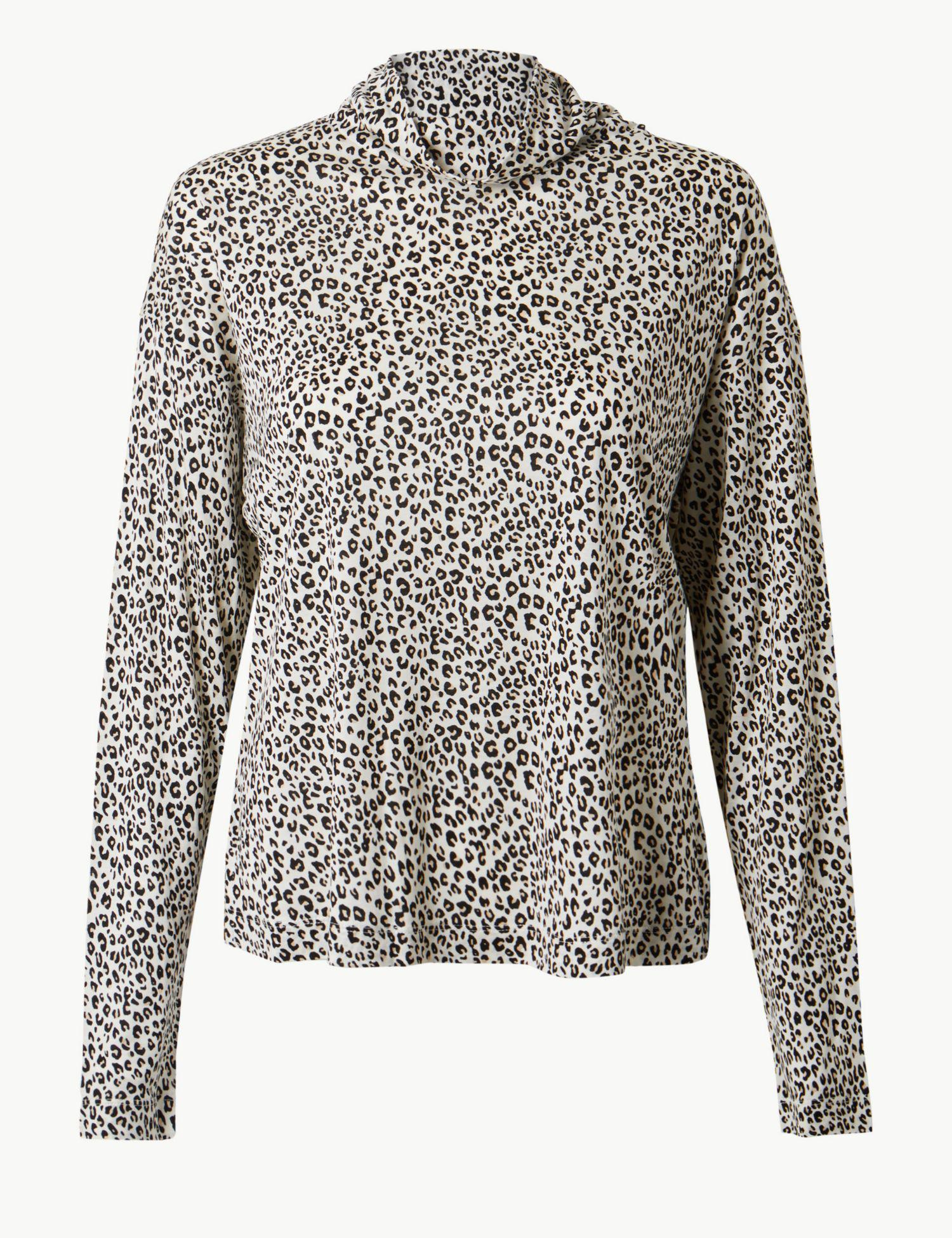 a3290fc6f9fd6a Marks & Spencer. Women's Animal Print Funnel Neck Long Sleeve Top