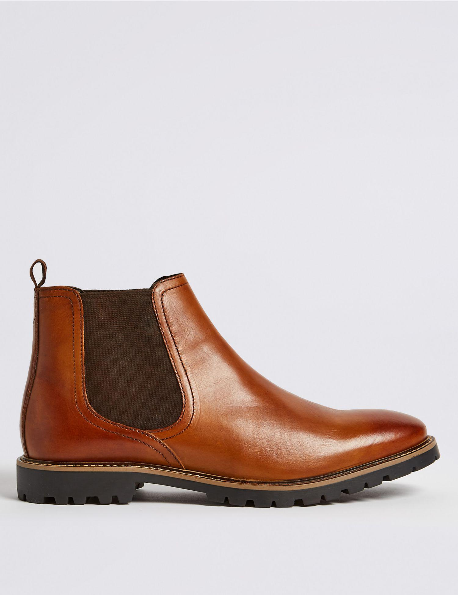 e3f62df8a1184 Marks   Spencer Leather Chelsea Boots in Brown for Men - Lyst