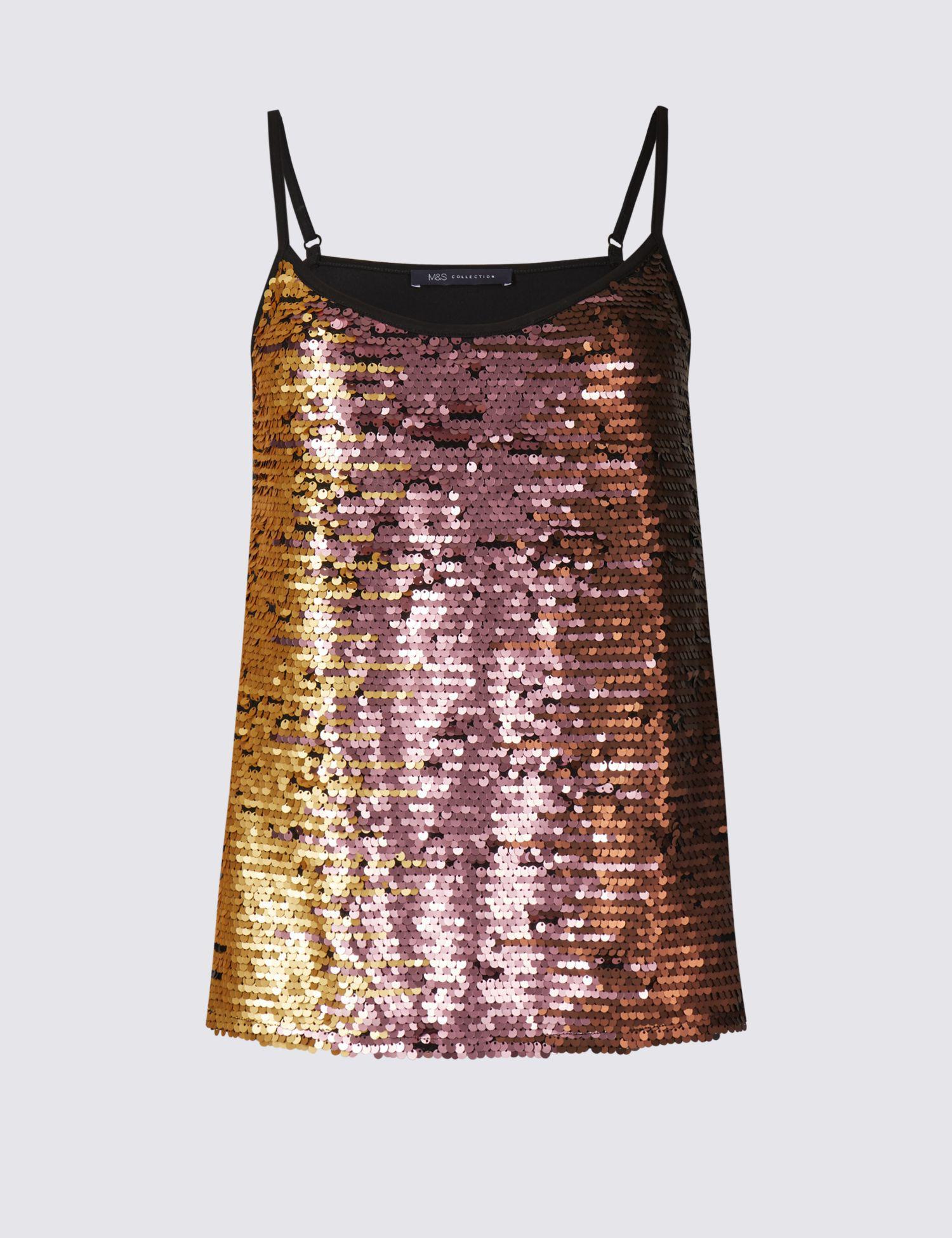 484bb0dbe7a723 Marks & Spencer Embellished V-neck Vest Top in Pink - Lyst