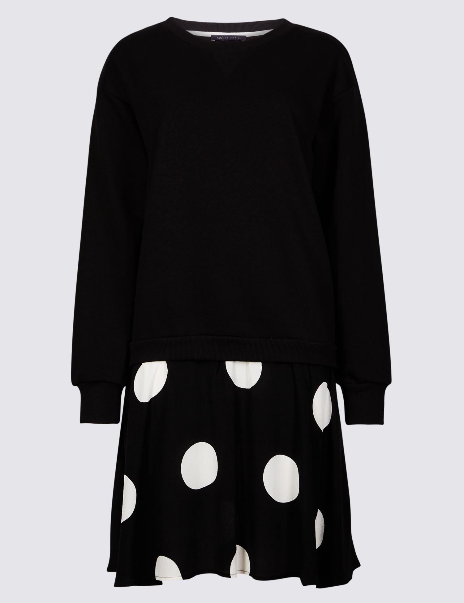 b54f46b8c5 Marks & Spencer Cotton Rich Printed Drop Waist Dress in Black - Lyst