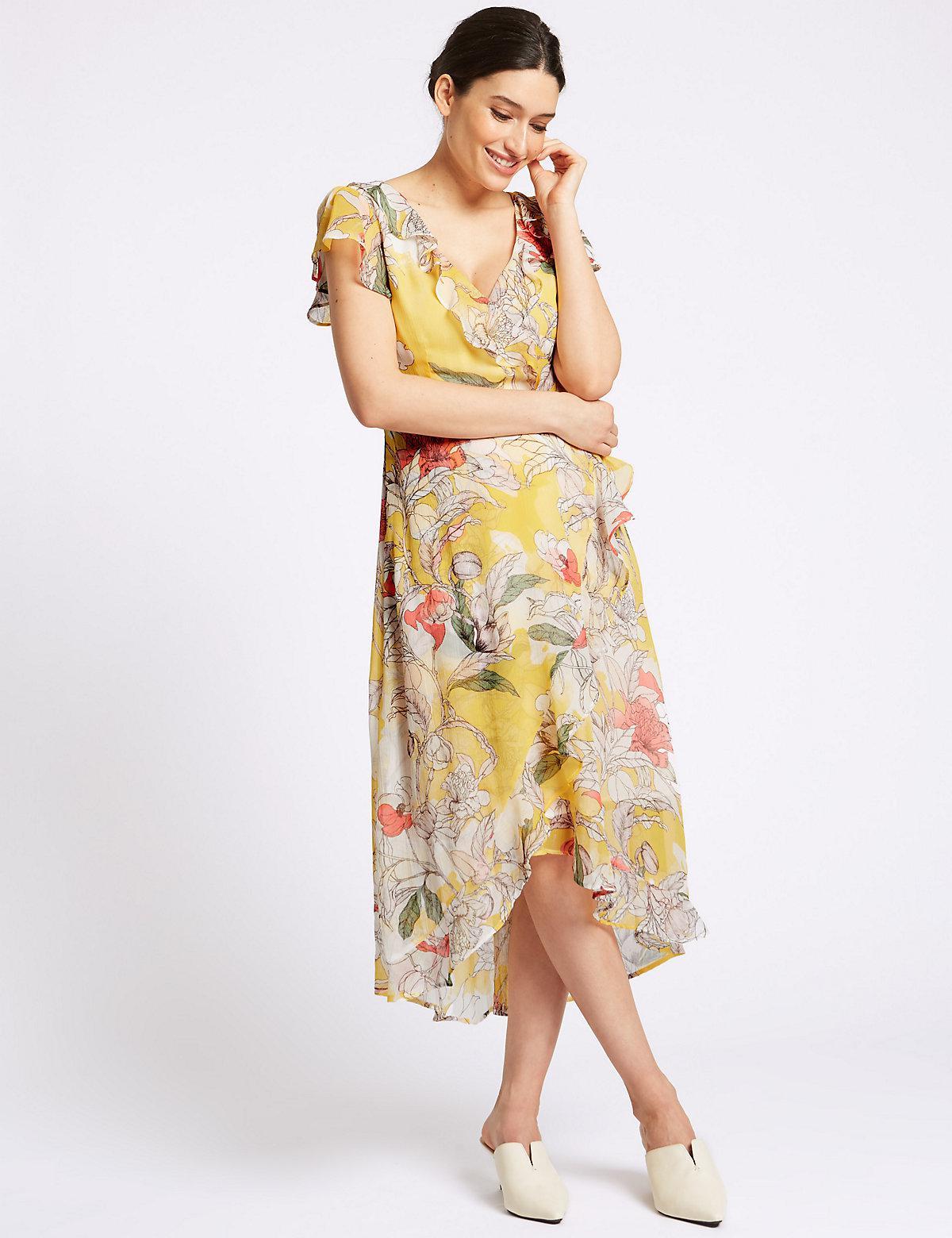 Short Sleeve Yellow Dress