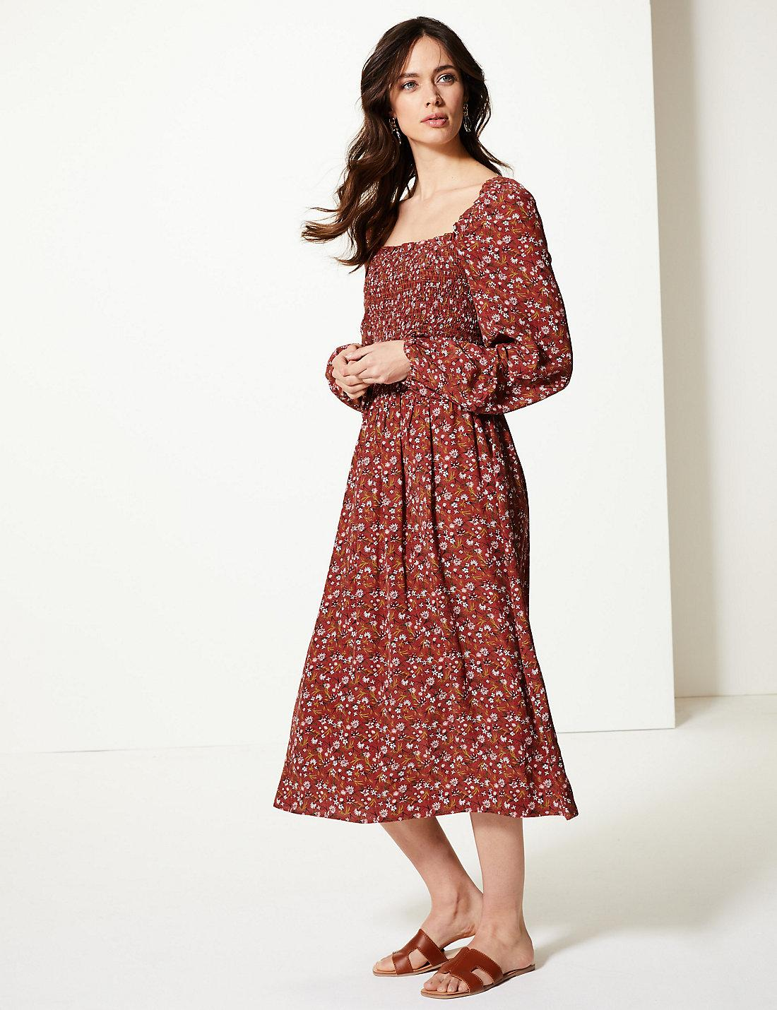 f203b91347adc Marks   Spencer. Women s Red Floral Print Long Sleeve Waisted Midi Dress