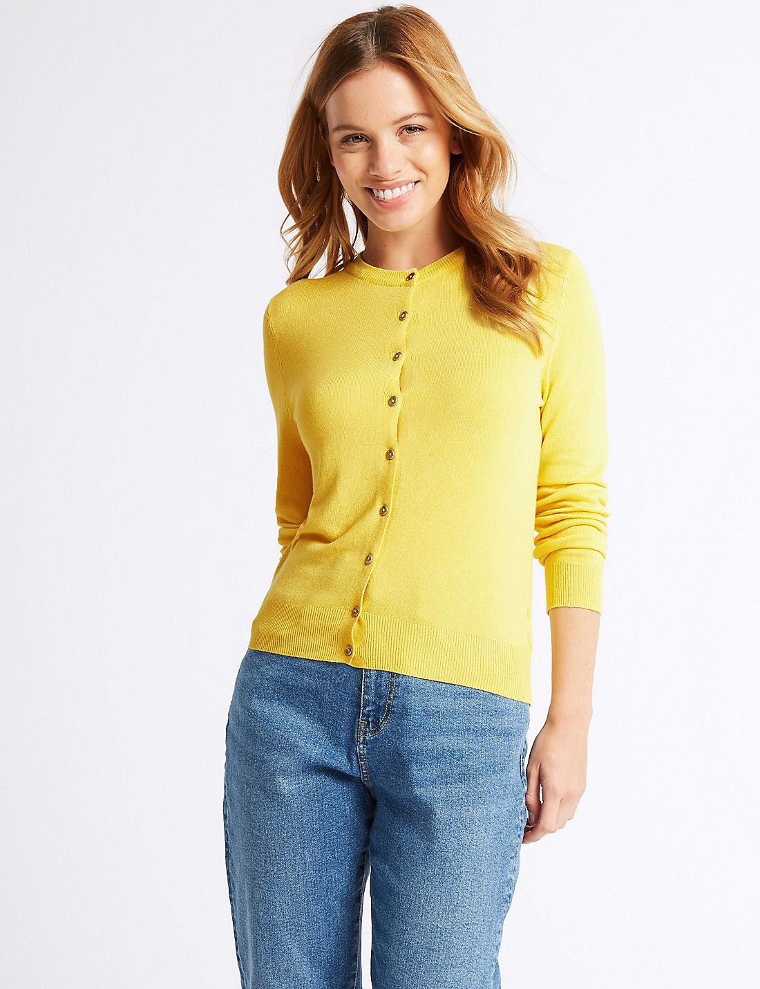 1f21502ef19 Lyst - Marks   Spencer Petite Round Neck Cardigan in Yellow