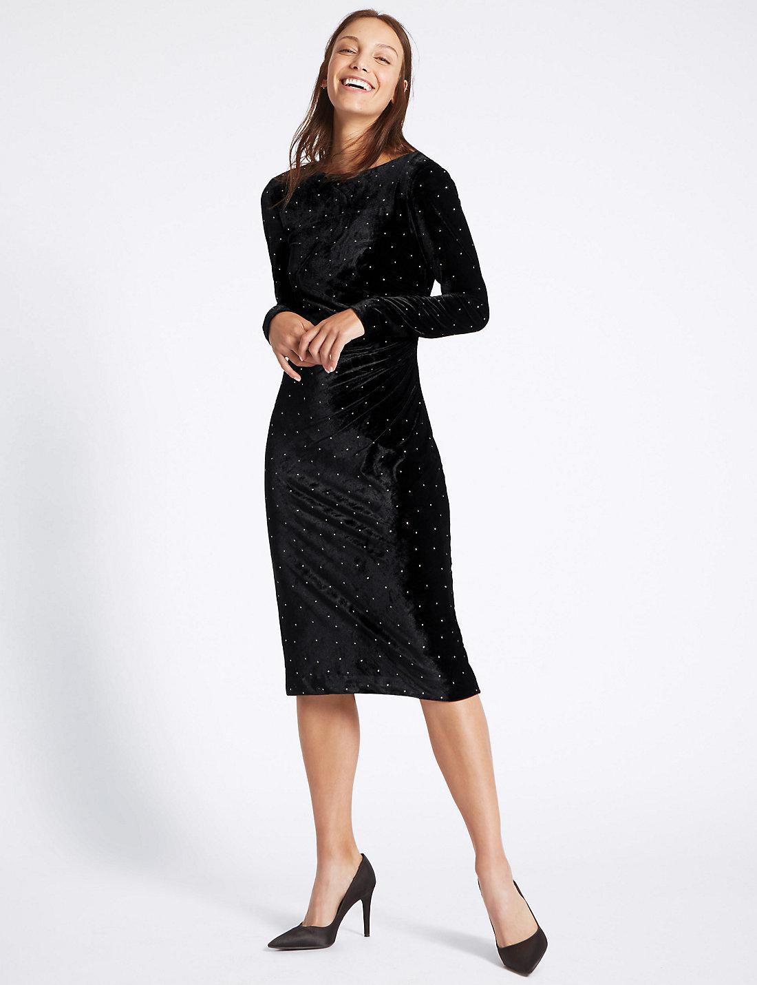 Lyst marks spencer stud velvet long sleeve tunic midi for Dress shirt studs uk