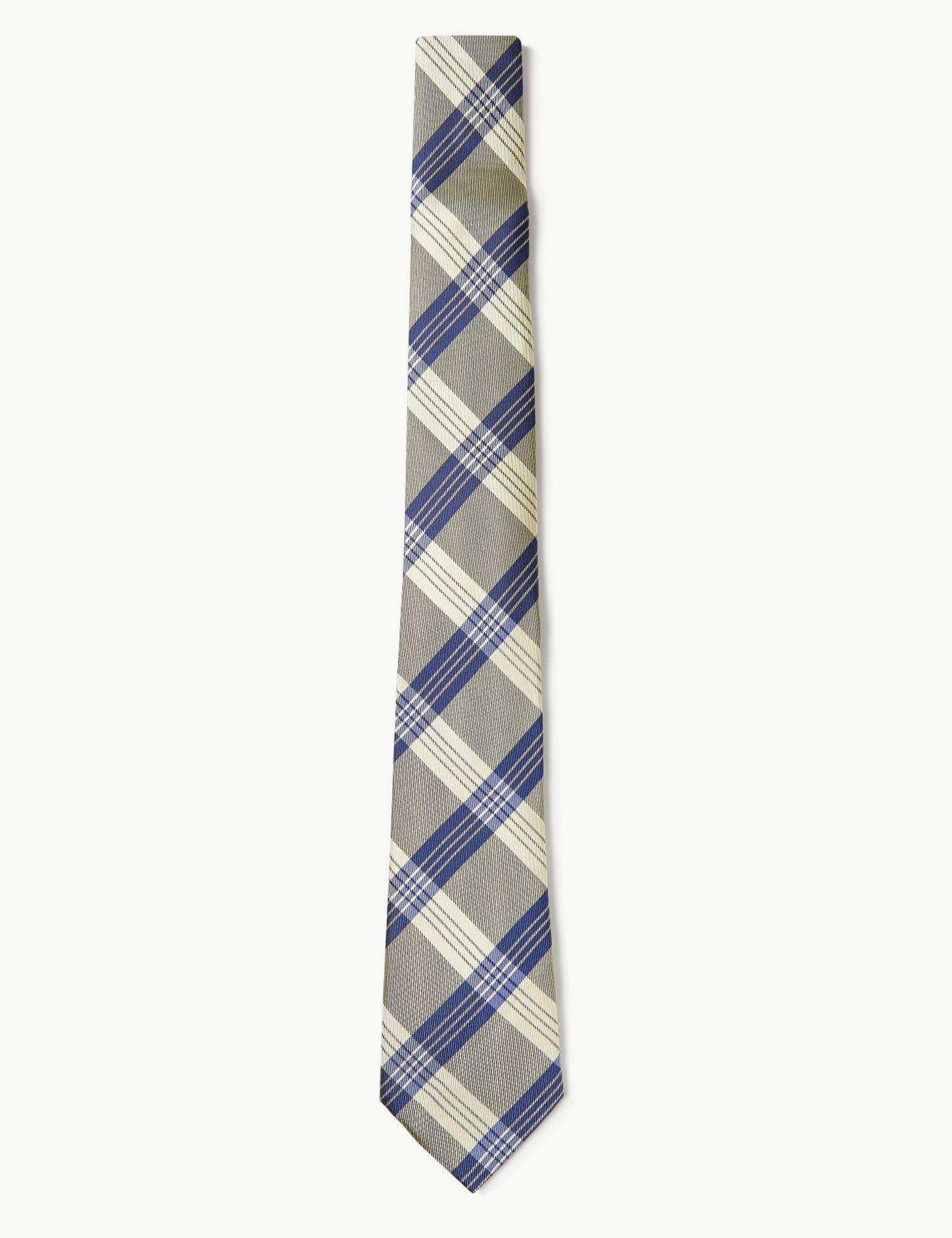 e44f0a39063a Marks & Spencer Pure Silk Checked Tie in Blue for Men - Lyst